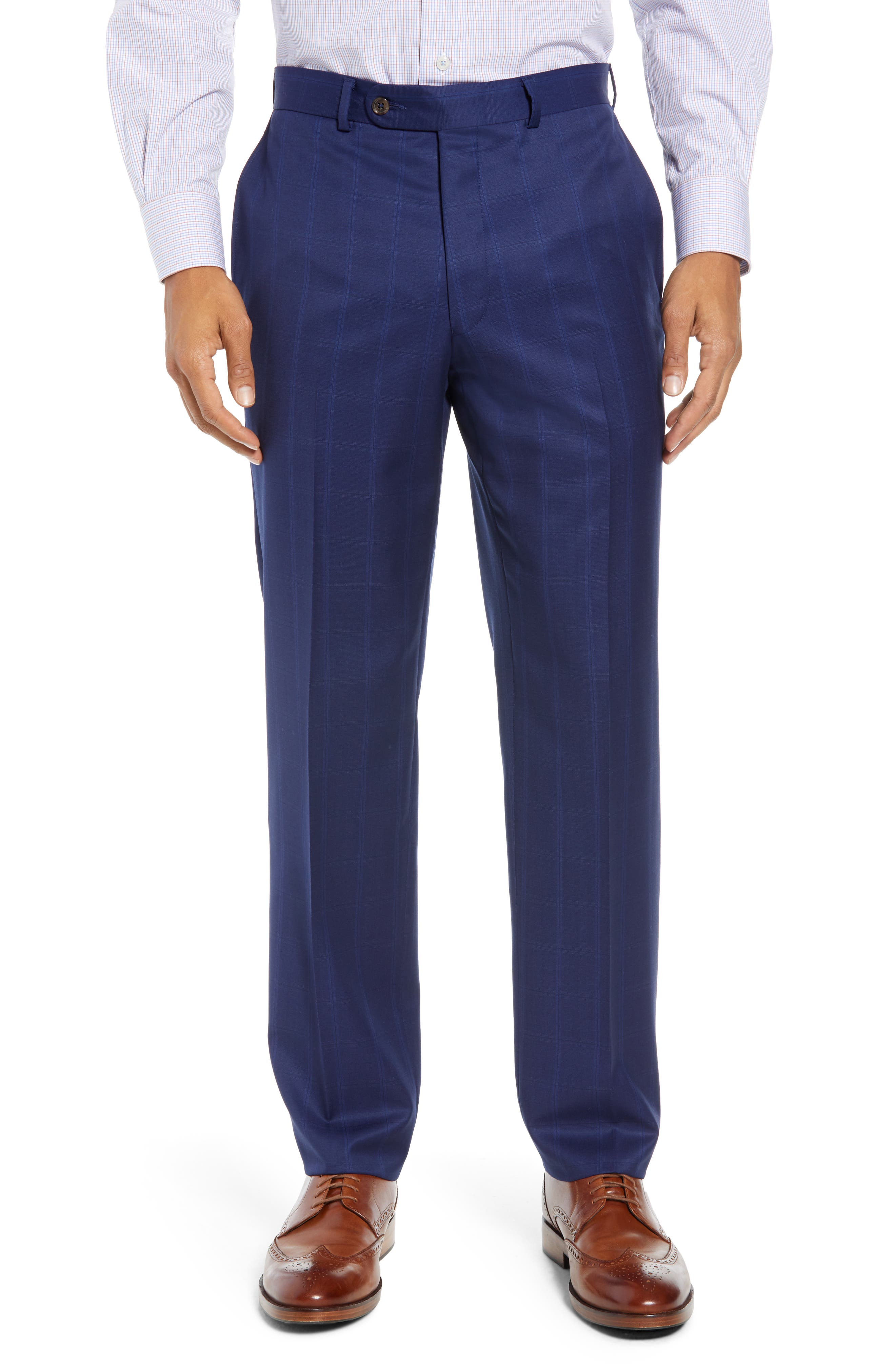 DAVID DONAHUE,                             Ryan Classic Fit Windowpane Wool Suit,                             Alternate thumbnail 6, color,                             400