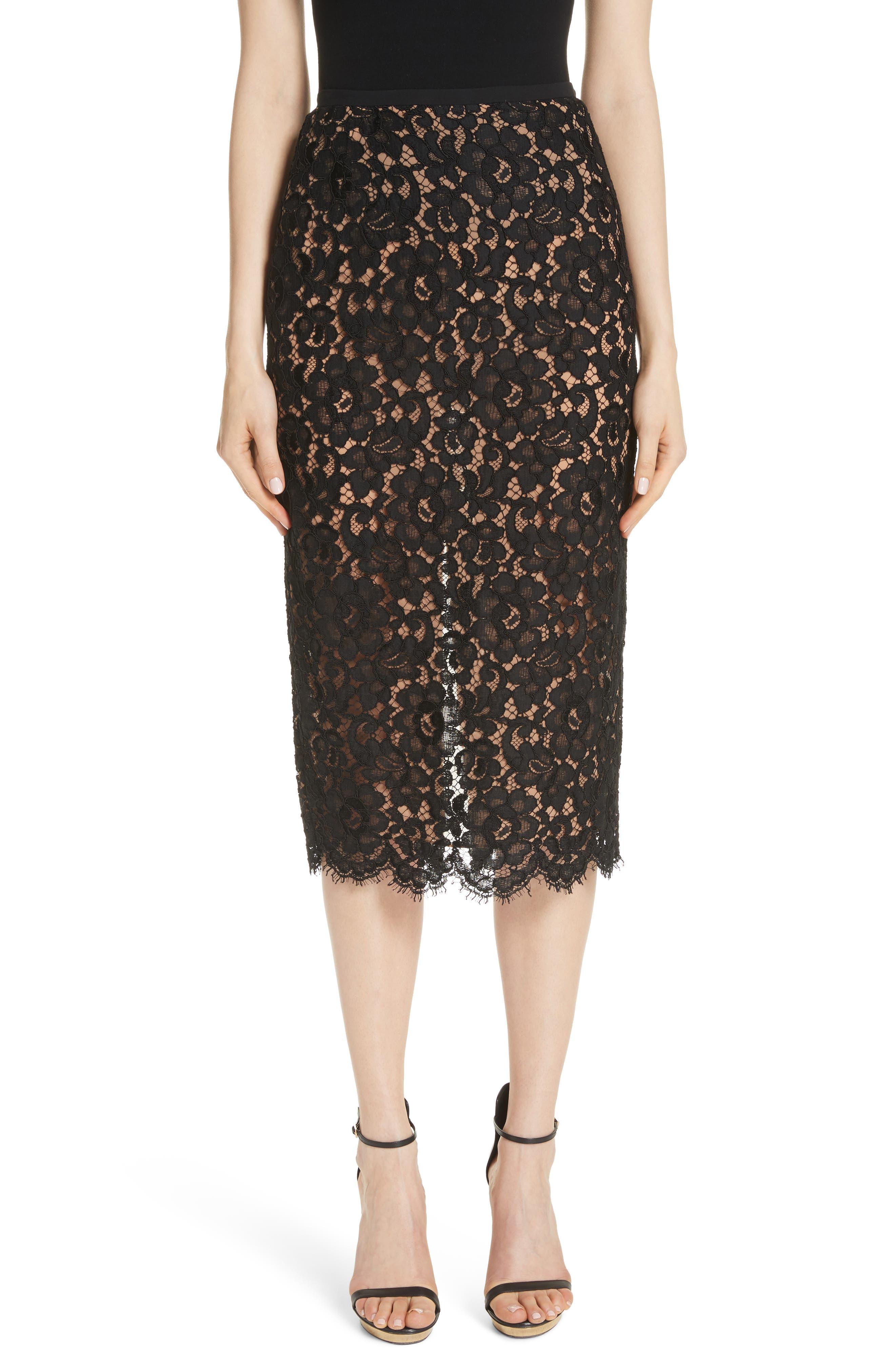 Lace Pencil Skirt, Main, color, BLACK