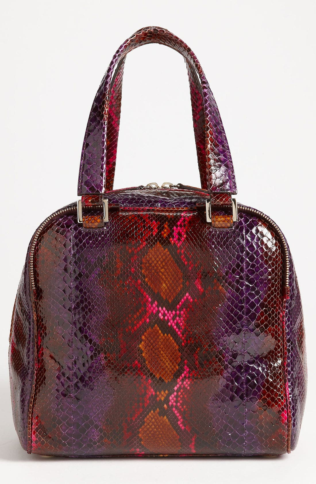 JIMMY CHOO,                             'Justine - Small' Genuine Python Satchel,                             Alternate thumbnail 4, color,                             500