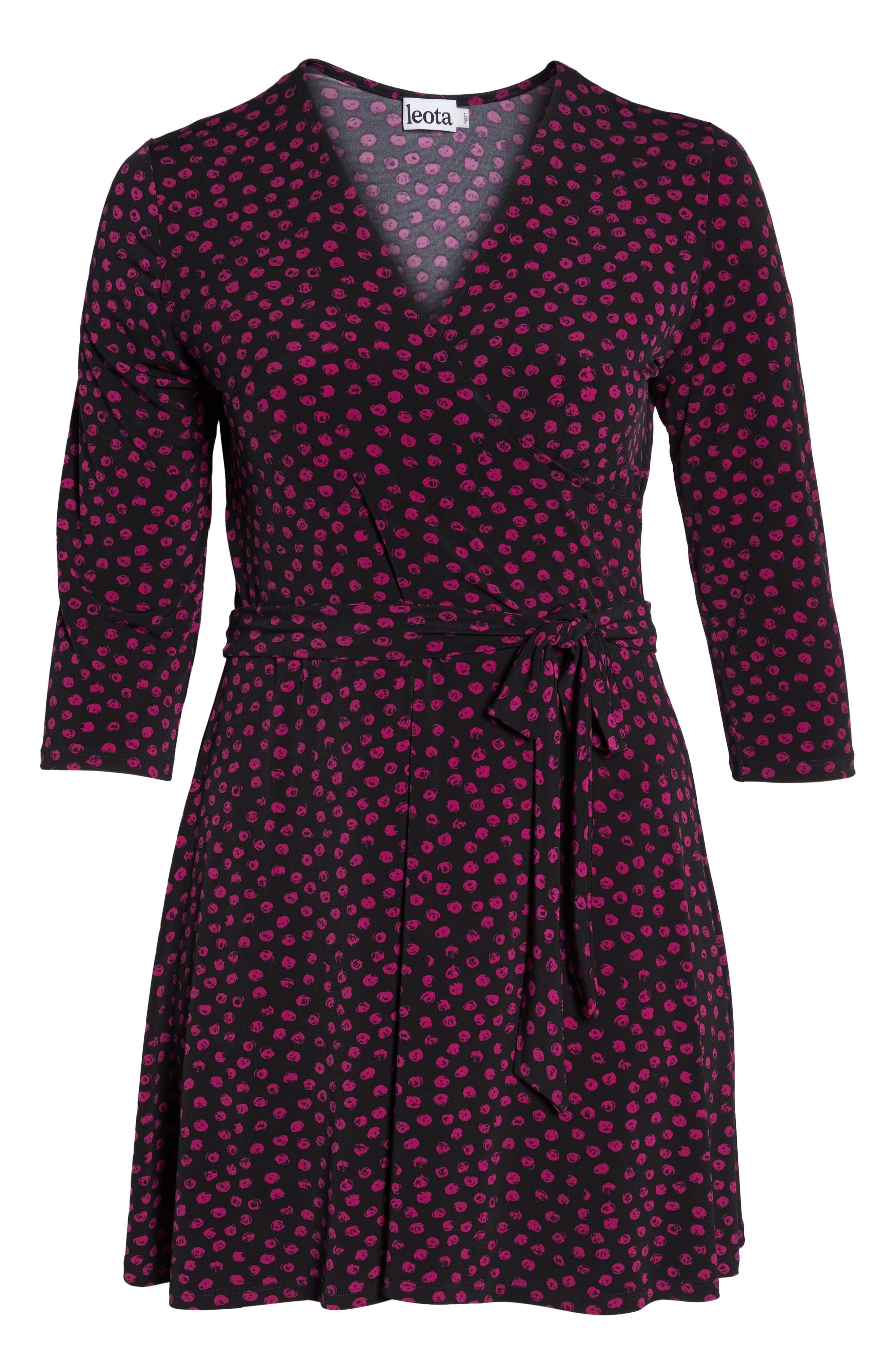 Perfect Faux Wrap Jersey Dress,                             Alternate thumbnail 7, color,                             APPALOOSA BLACK
