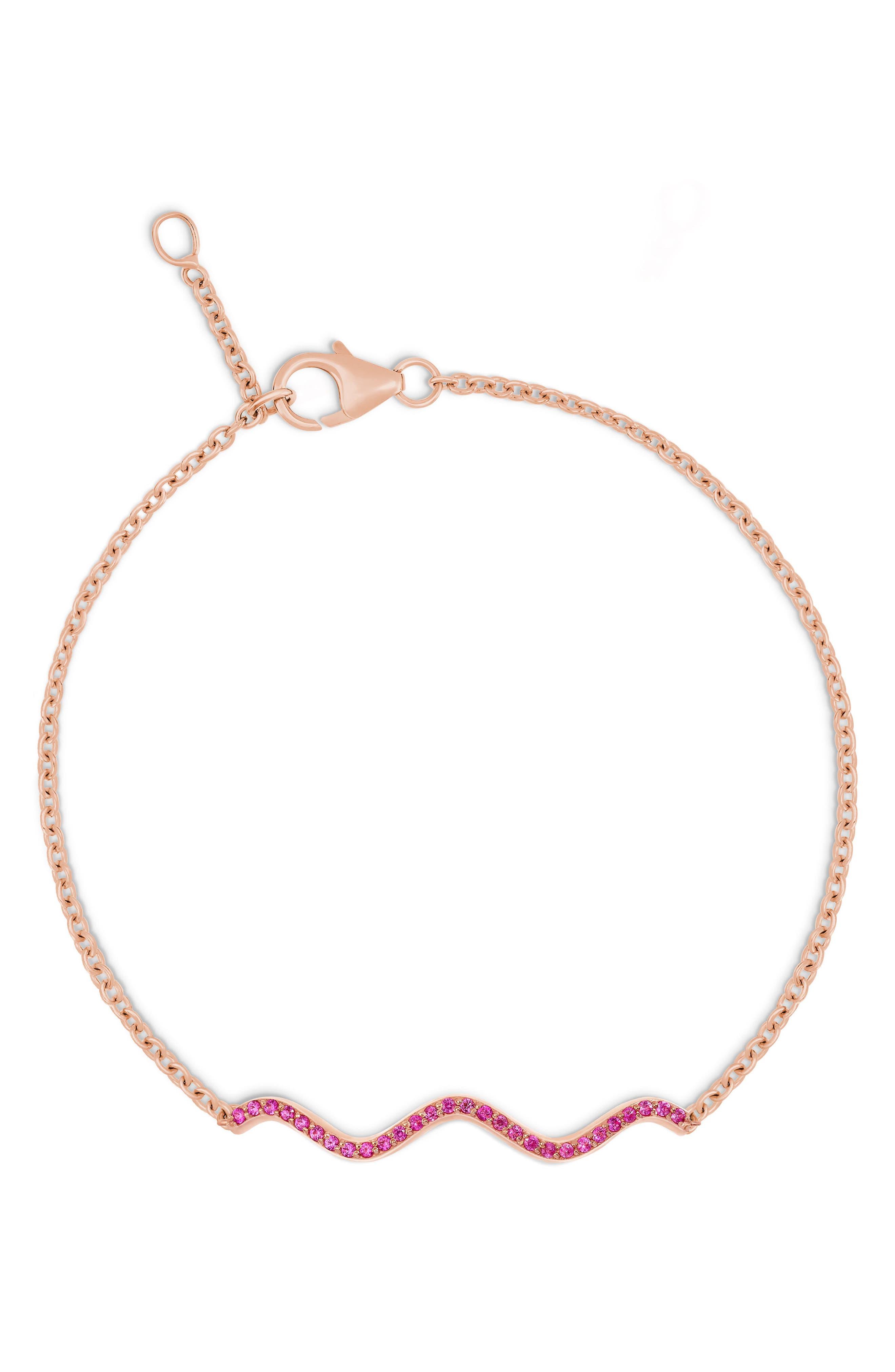 Memphis Chained Wave Pink Sapphire Bracelet,                         Main,                         color, 710