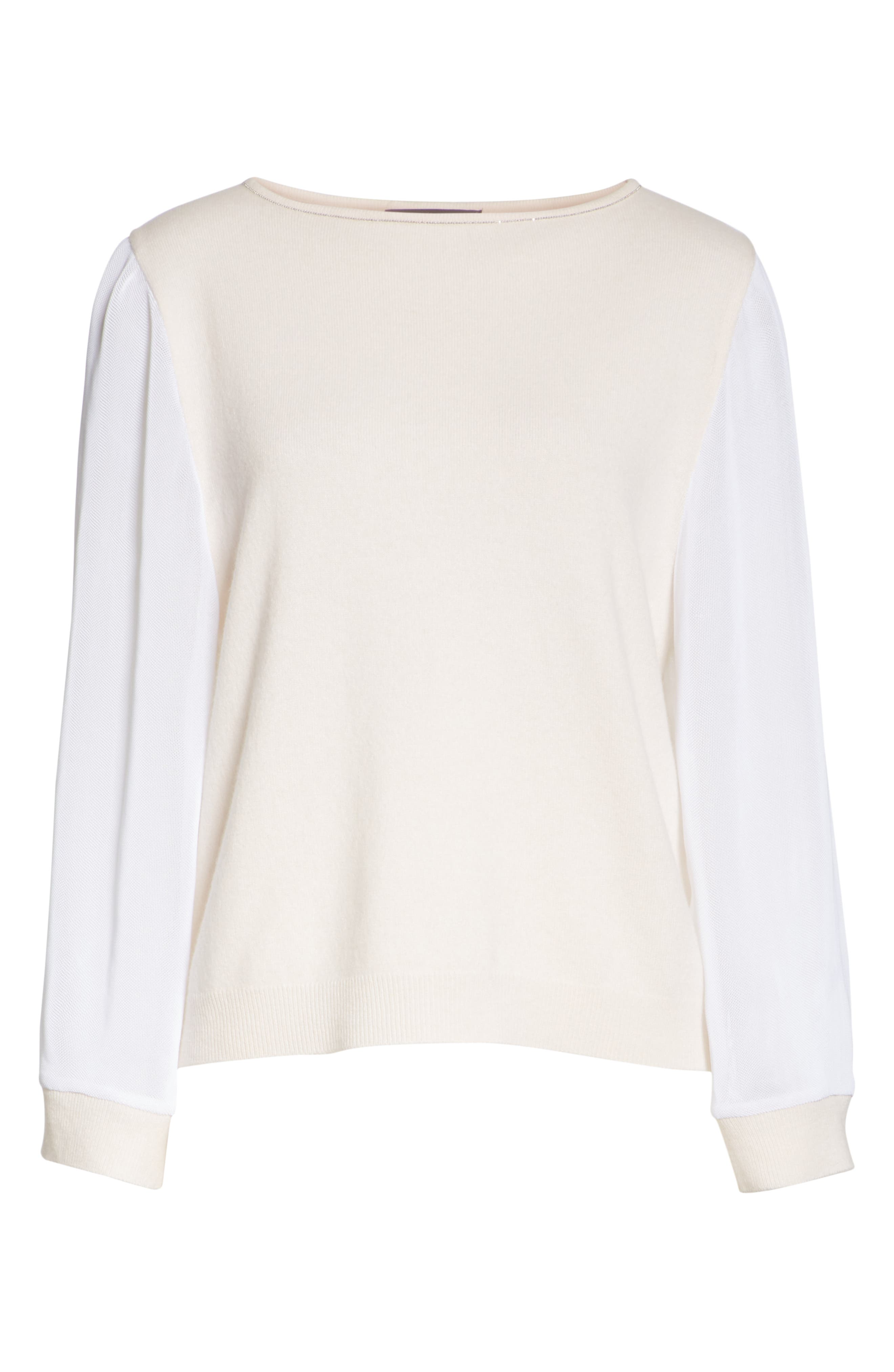 Mesh Sleeve Cashmere Sweater,                             Alternate thumbnail 6, color,                             020