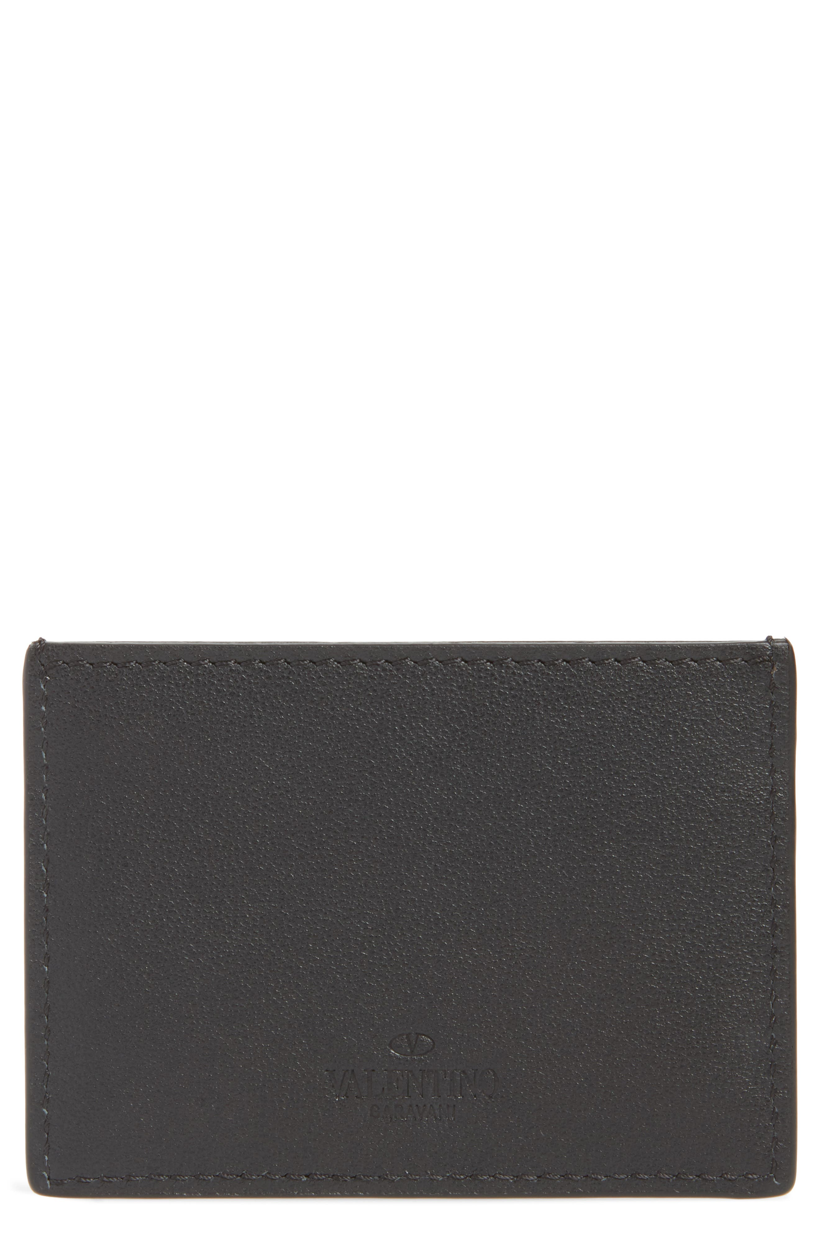GARAVANI Stud Leather Card Case,                             Alternate thumbnail 2, color,                             BLACK