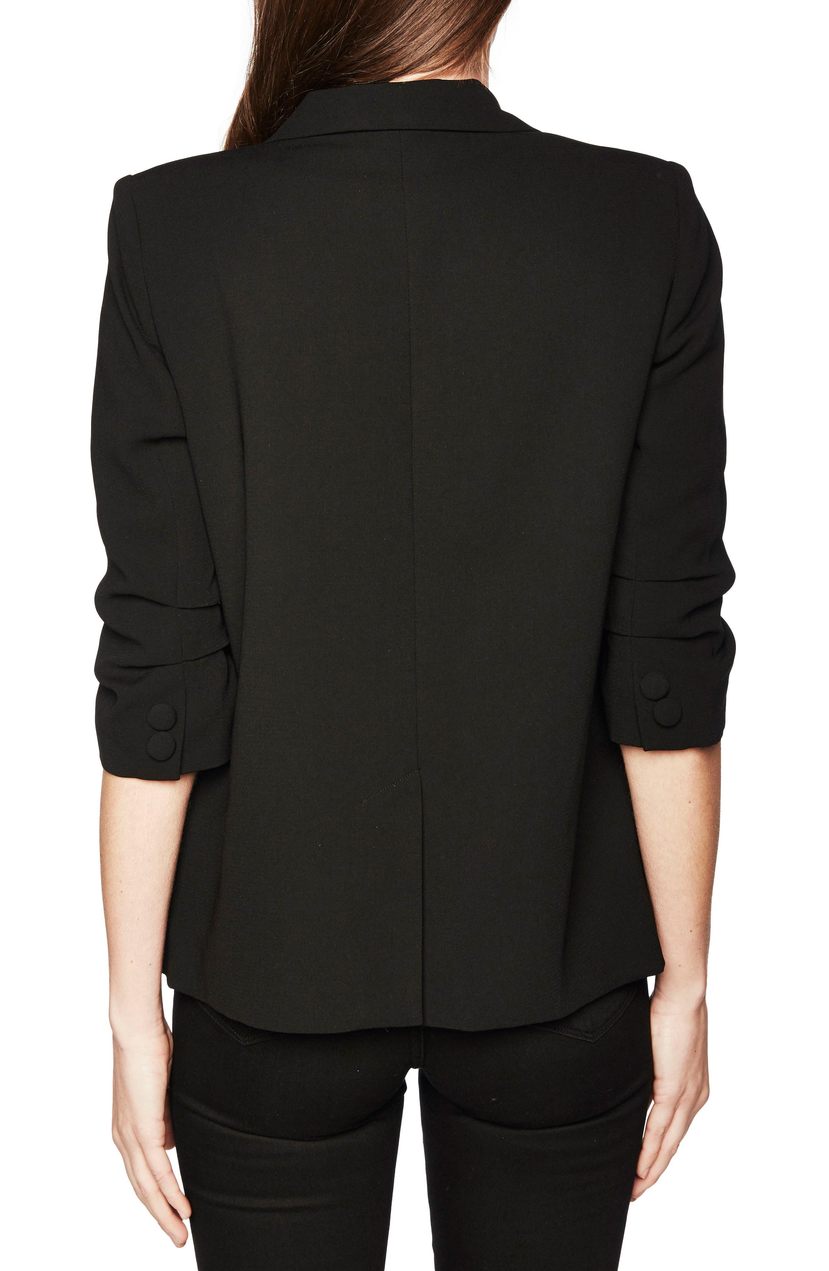 Ruched Sleeve Blazer,                             Alternate thumbnail 2, color,                             BLACK