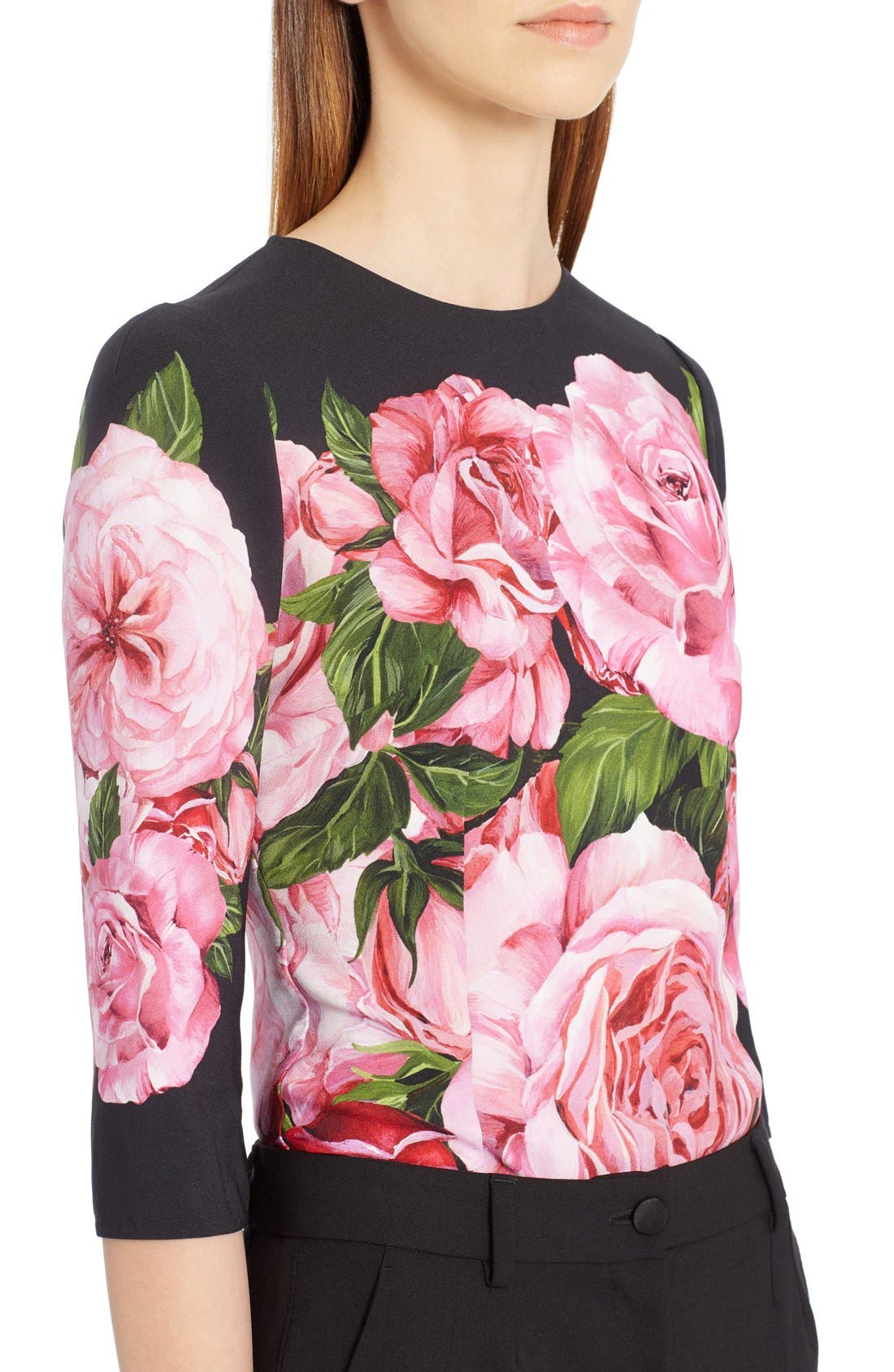 Rose Print Cady Top,                             Alternate thumbnail 5, color,                             650