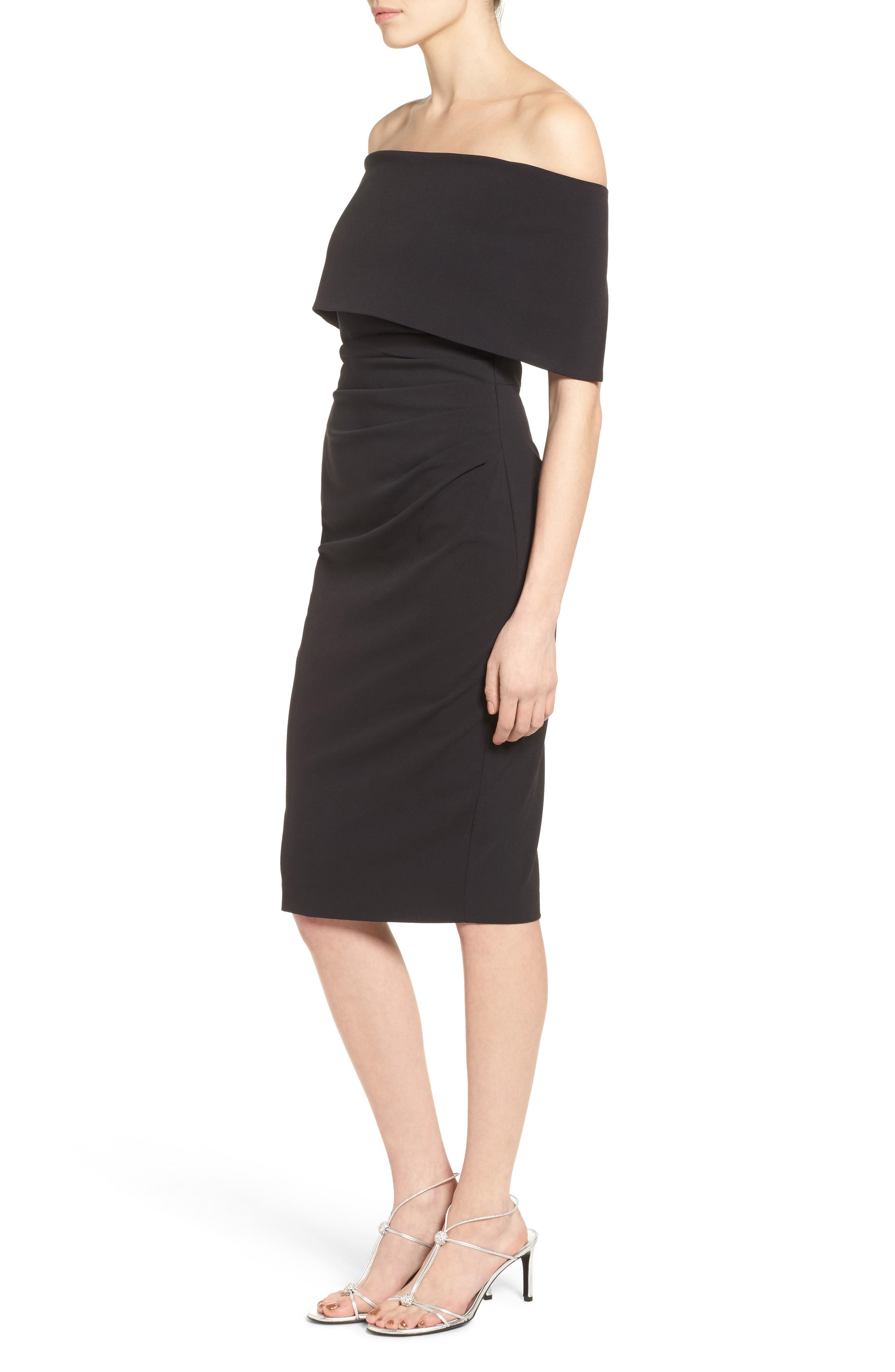 Popover Midi Dress,                             Alternate thumbnail 3, color,                             BLACK