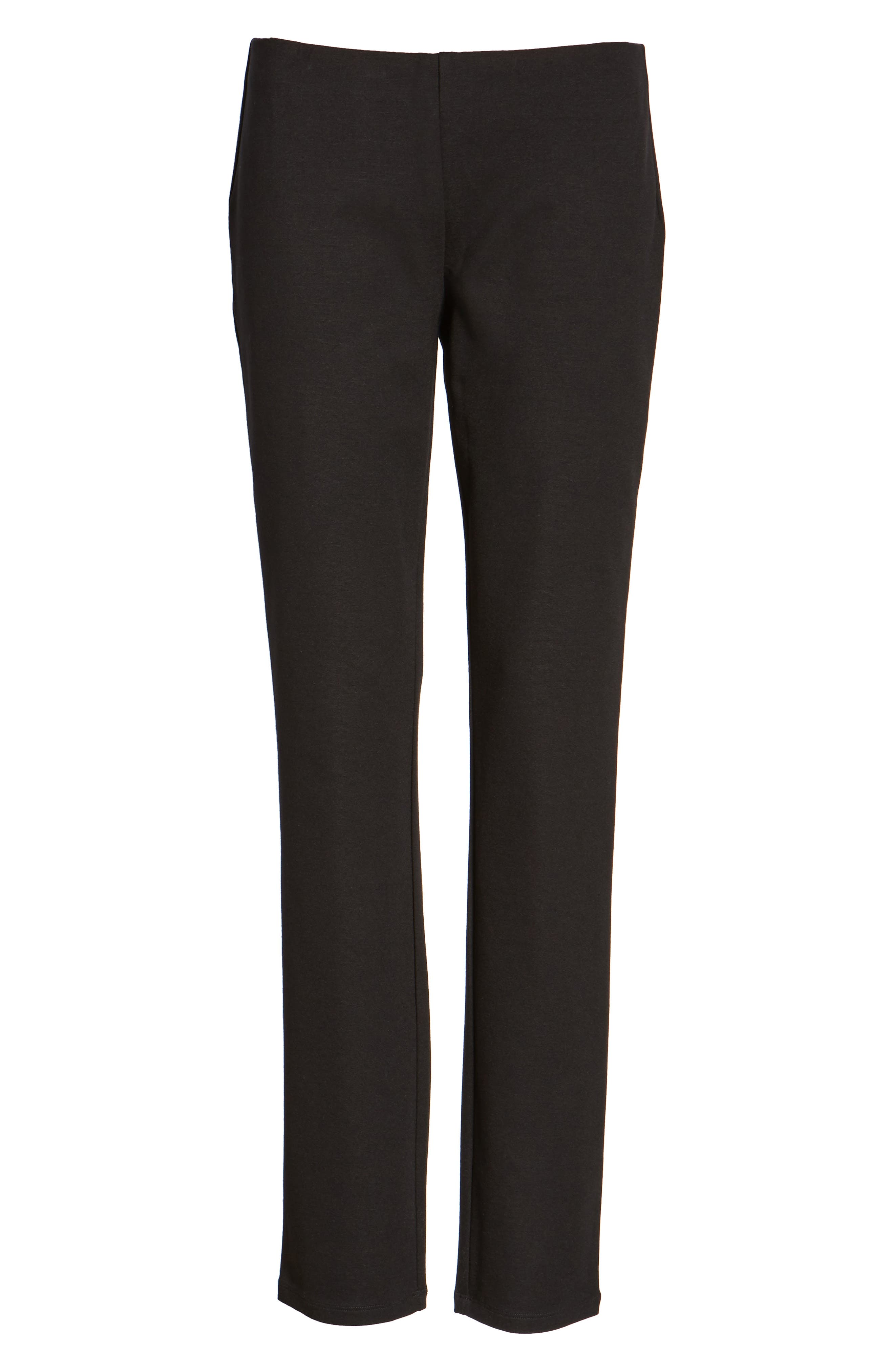 EILEEN FISHER,                             Slim Ponte Knit Pants,                             Main thumbnail 1, color,                             001