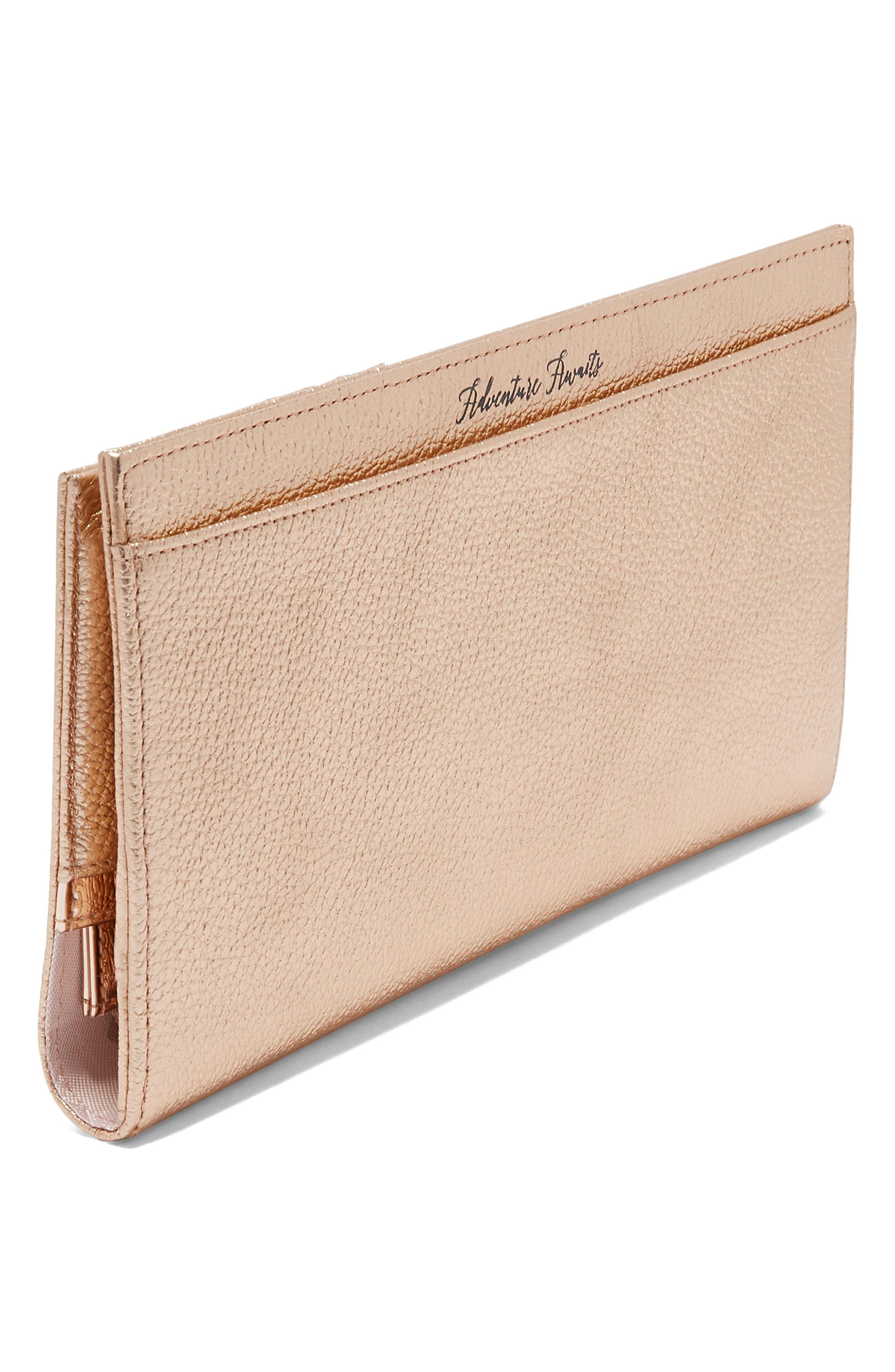 Kayy Metallic Leather Travel Wallet,                             Alternate thumbnail 5, color,