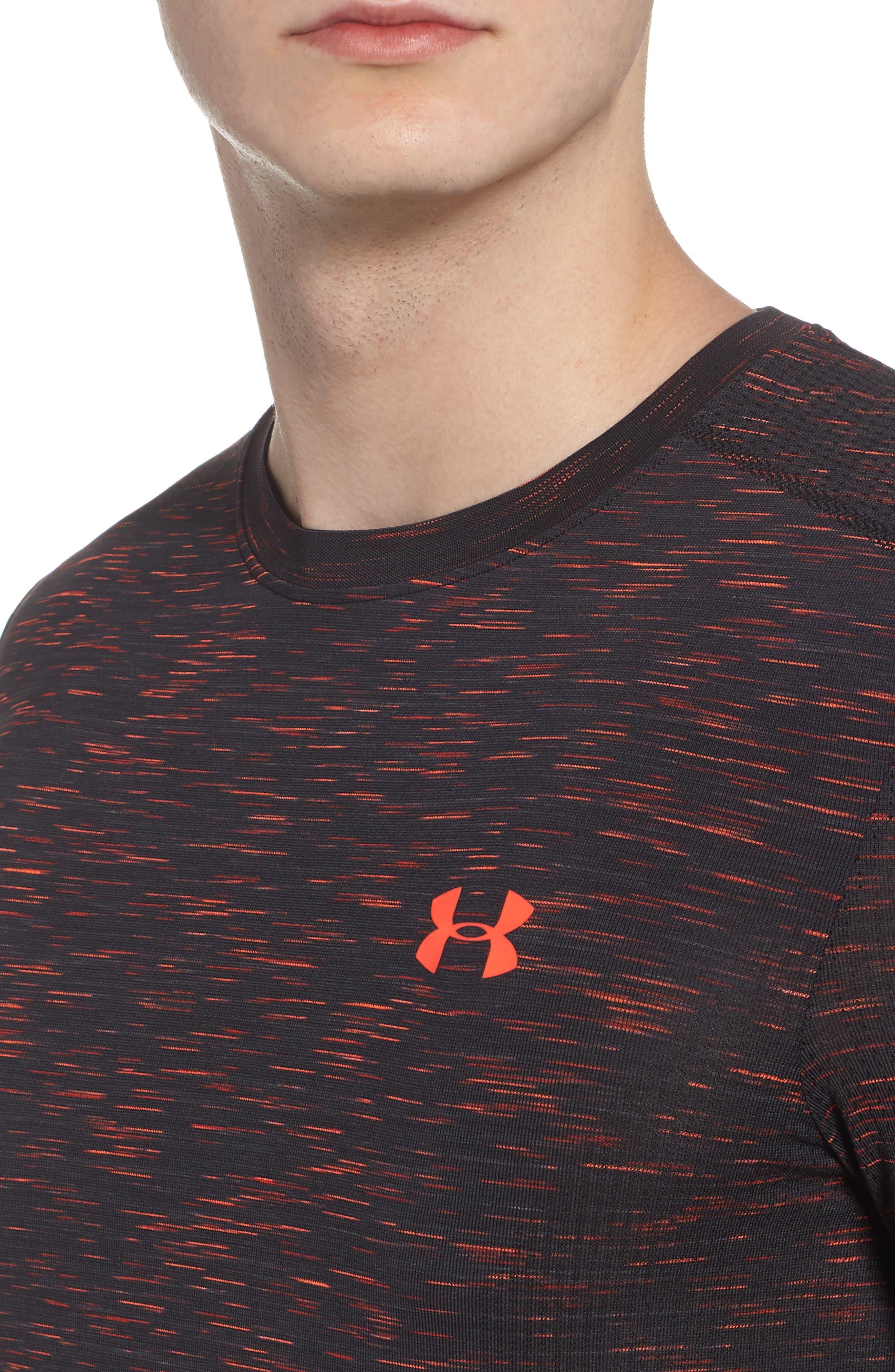 Threadborne Regular Fit T-Shirt,                             Alternate thumbnail 4, color,                             ANTHRACITE/ NEON CORAL