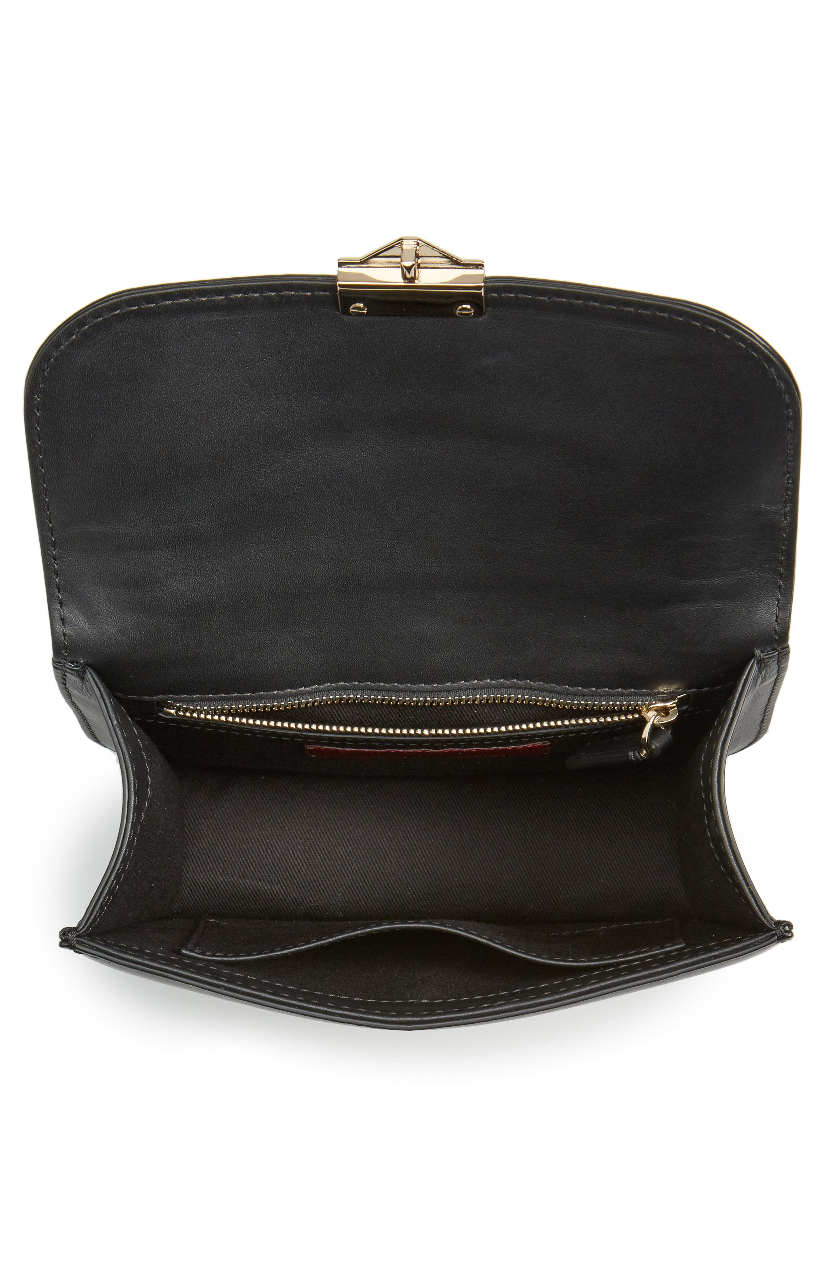 Small Lock Leather Crossbody Bag,                             Alternate thumbnail 4, color,                             NERO