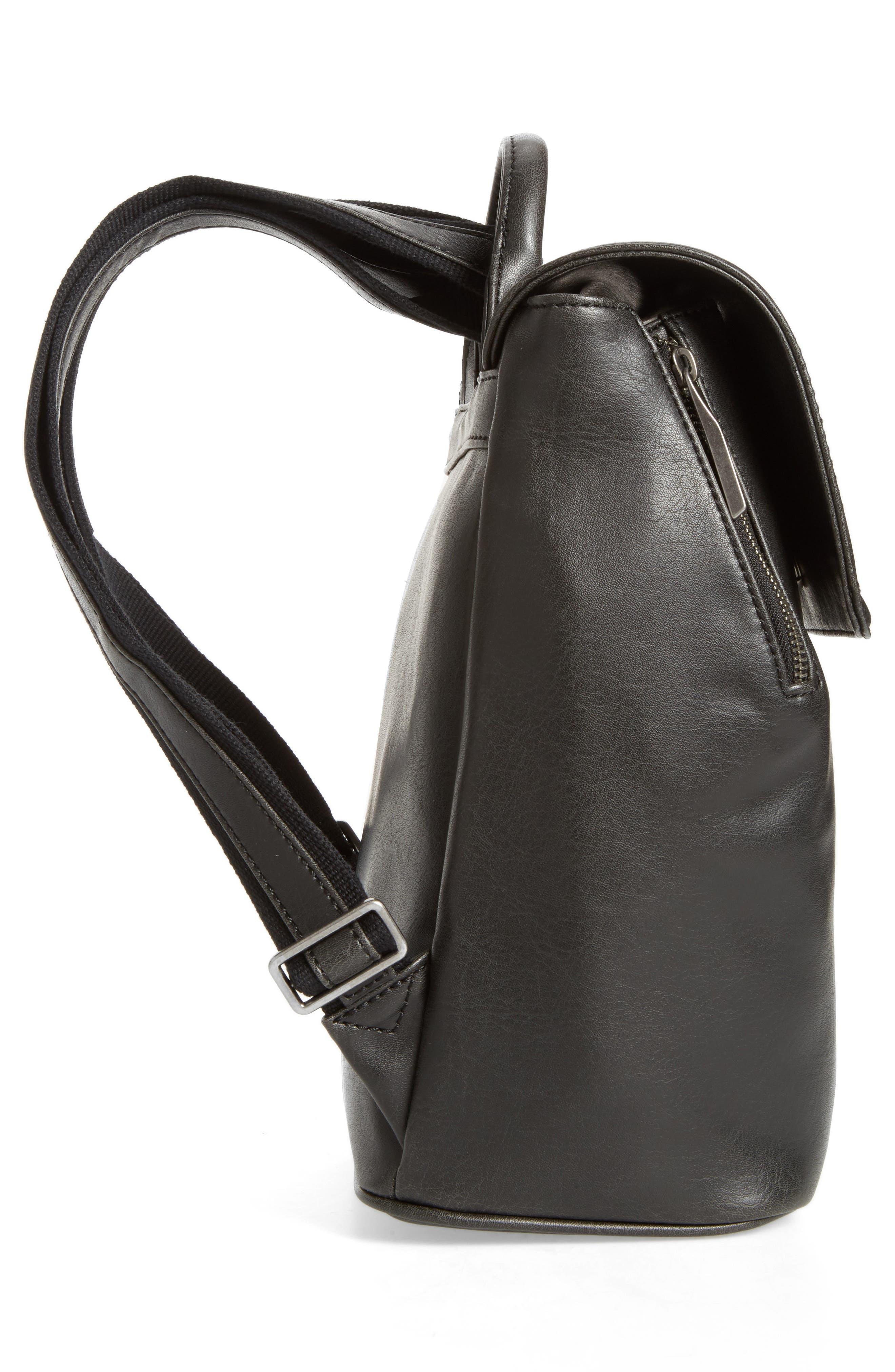 Mini Fabi Faux Leather Backpack,                             Alternate thumbnail 5, color,                             BLACK