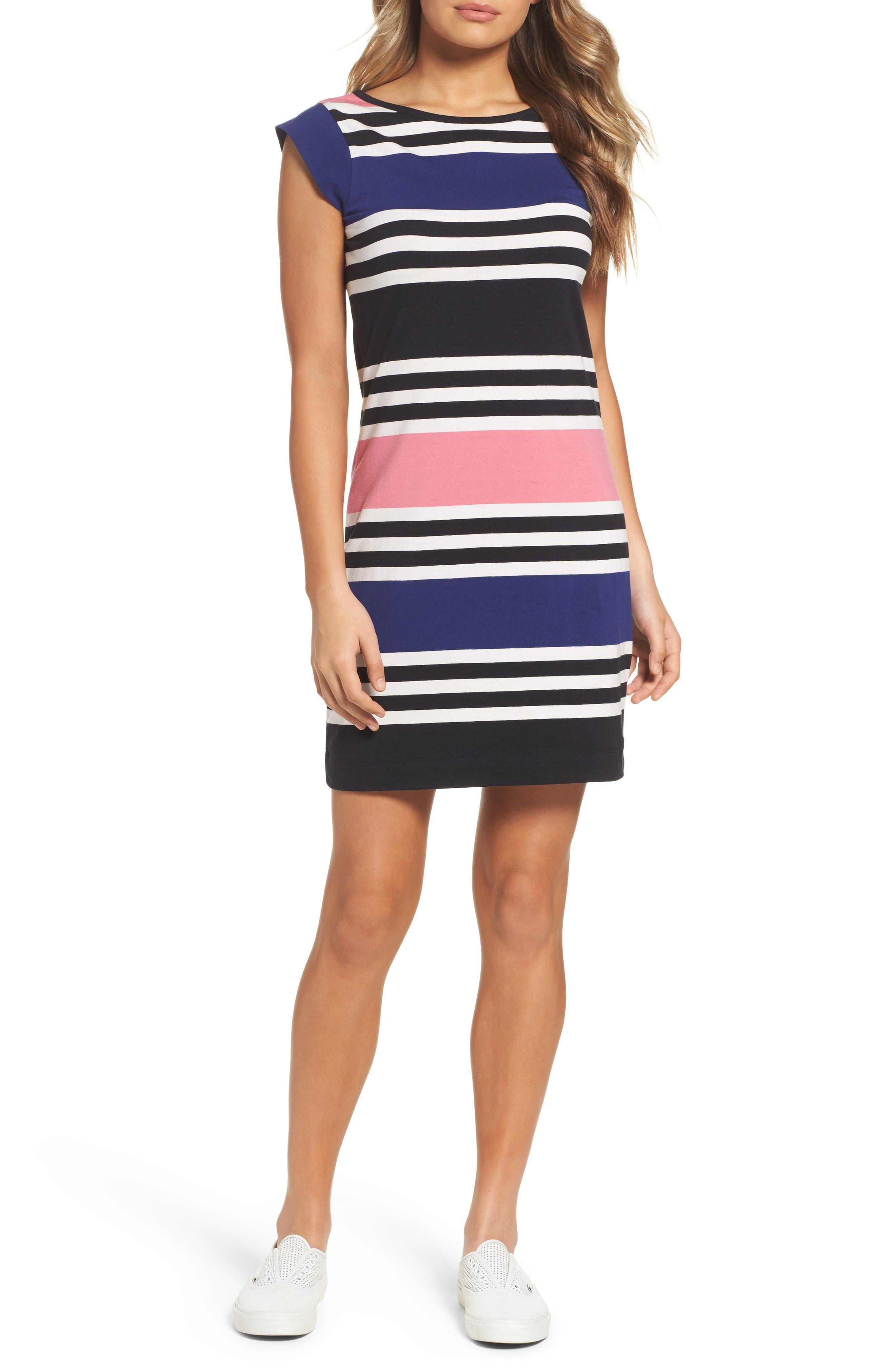 Multi Jag Stripe T-Shirt Dress,                             Main thumbnail 1, color,                             471