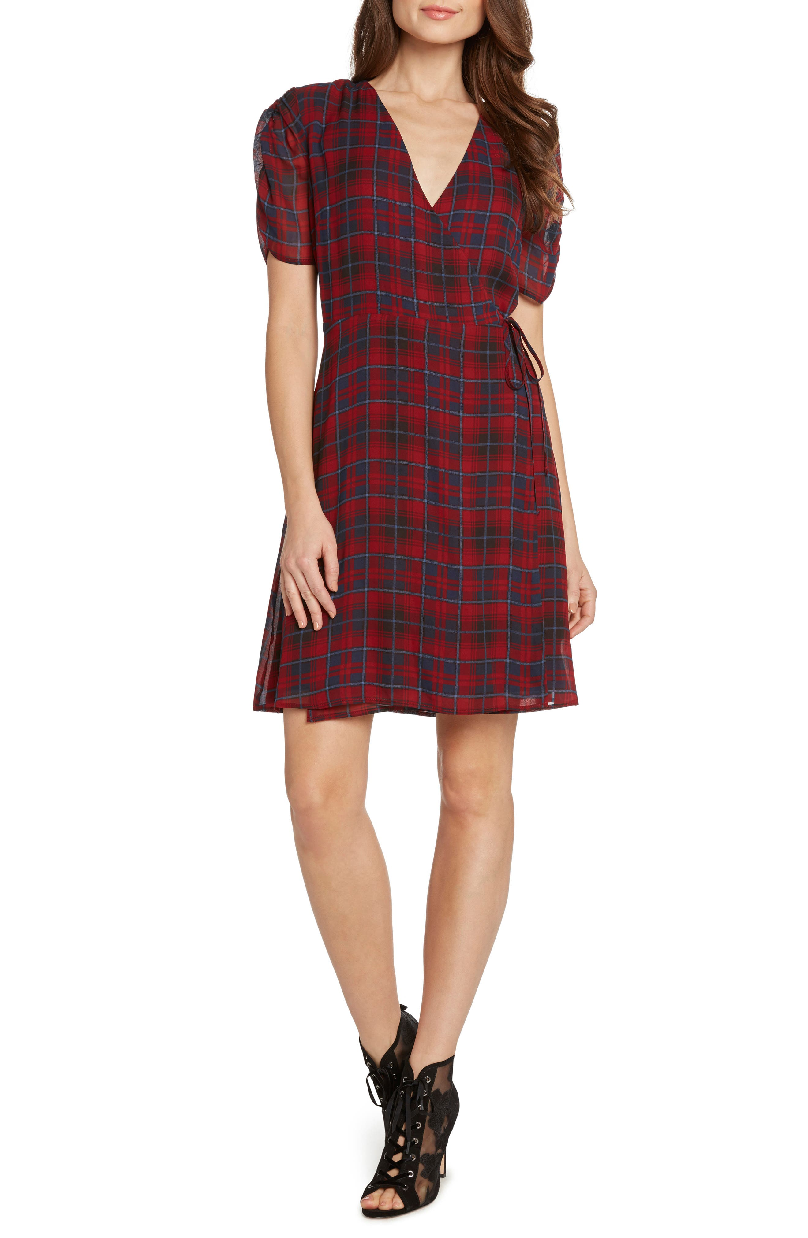 Plaid Ruched Sleeve Wrap Dress,                         Main,                         color, 930