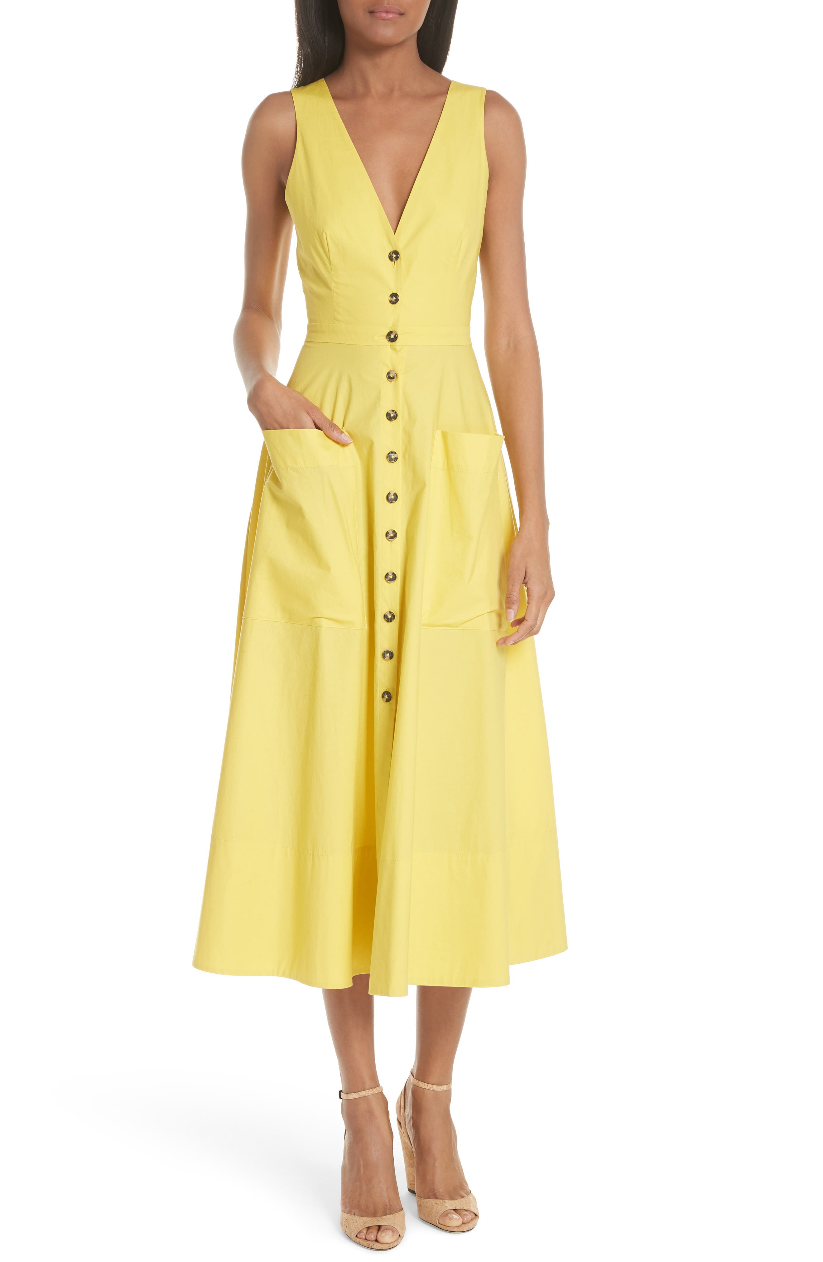 Zoey Cutout Stretch Poplin Dress,                             Main thumbnail 1, color,                             BRIGHT LEMON