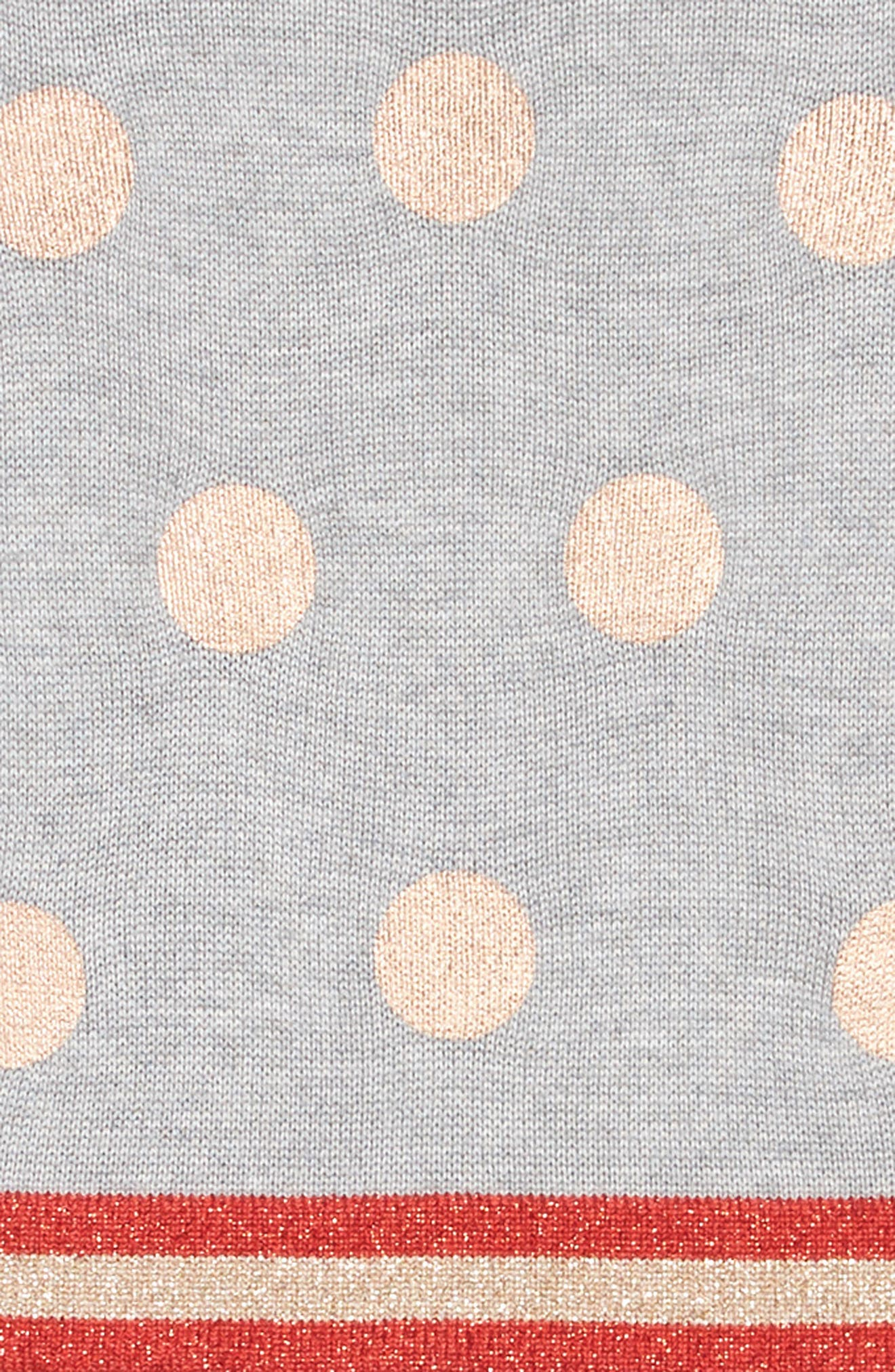 Mini Boden Foil Spot Knit Dress,                             Alternate thumbnail 3, color,                             GRY GREY MARL FOIL SPOTS