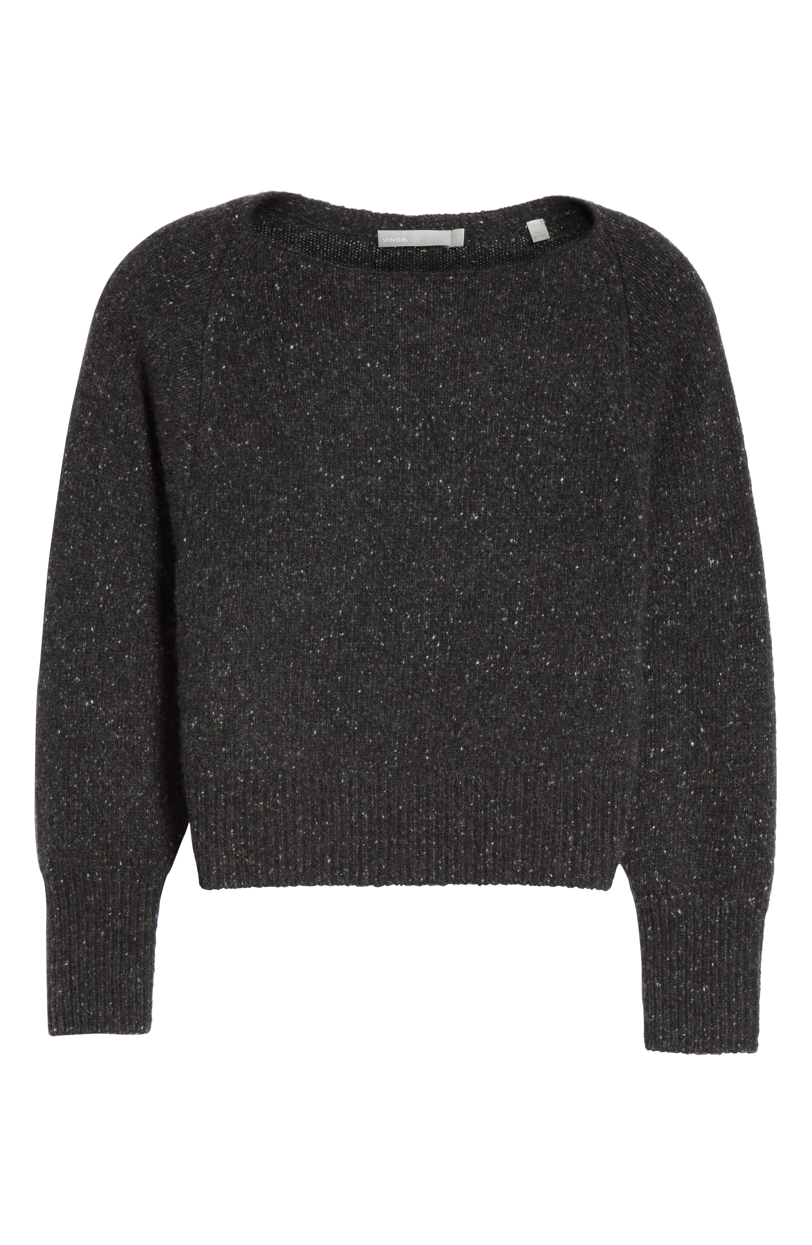 Cashmere Boatneck Sweater,                             Alternate thumbnail 6, color,                             CHARCOAL