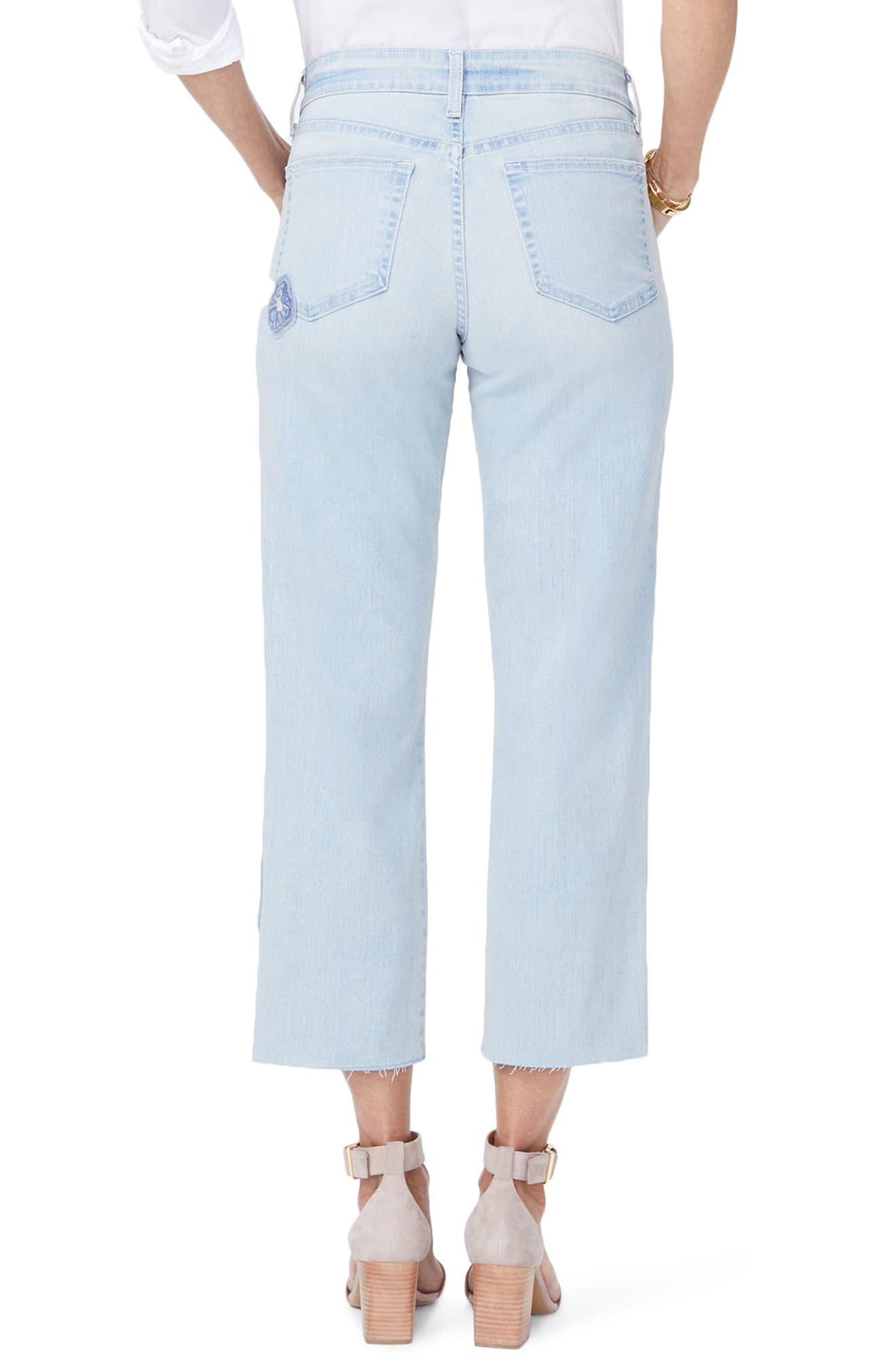Jenna Floral Appliqué Raw Edge Crop Jeans,                             Alternate thumbnail 2, color,