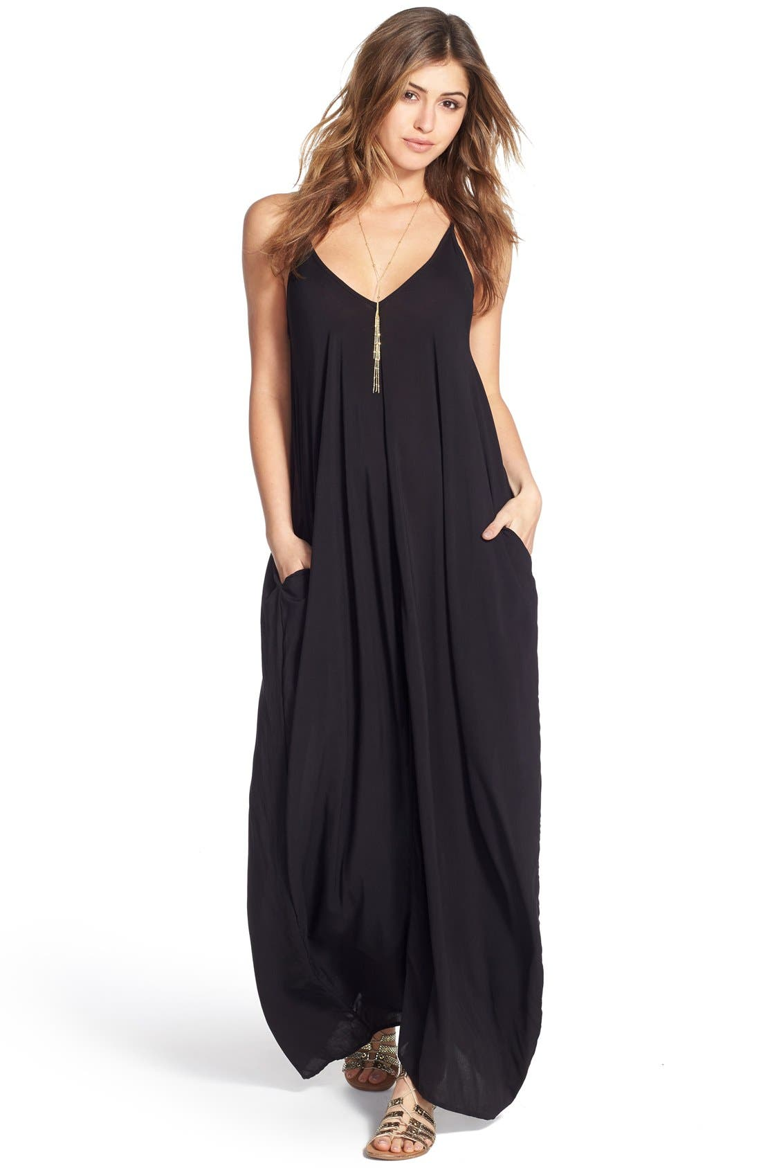 V-Back Cover-Up Maxi Dress,                             Alternate thumbnail 8, color,                             BLACK