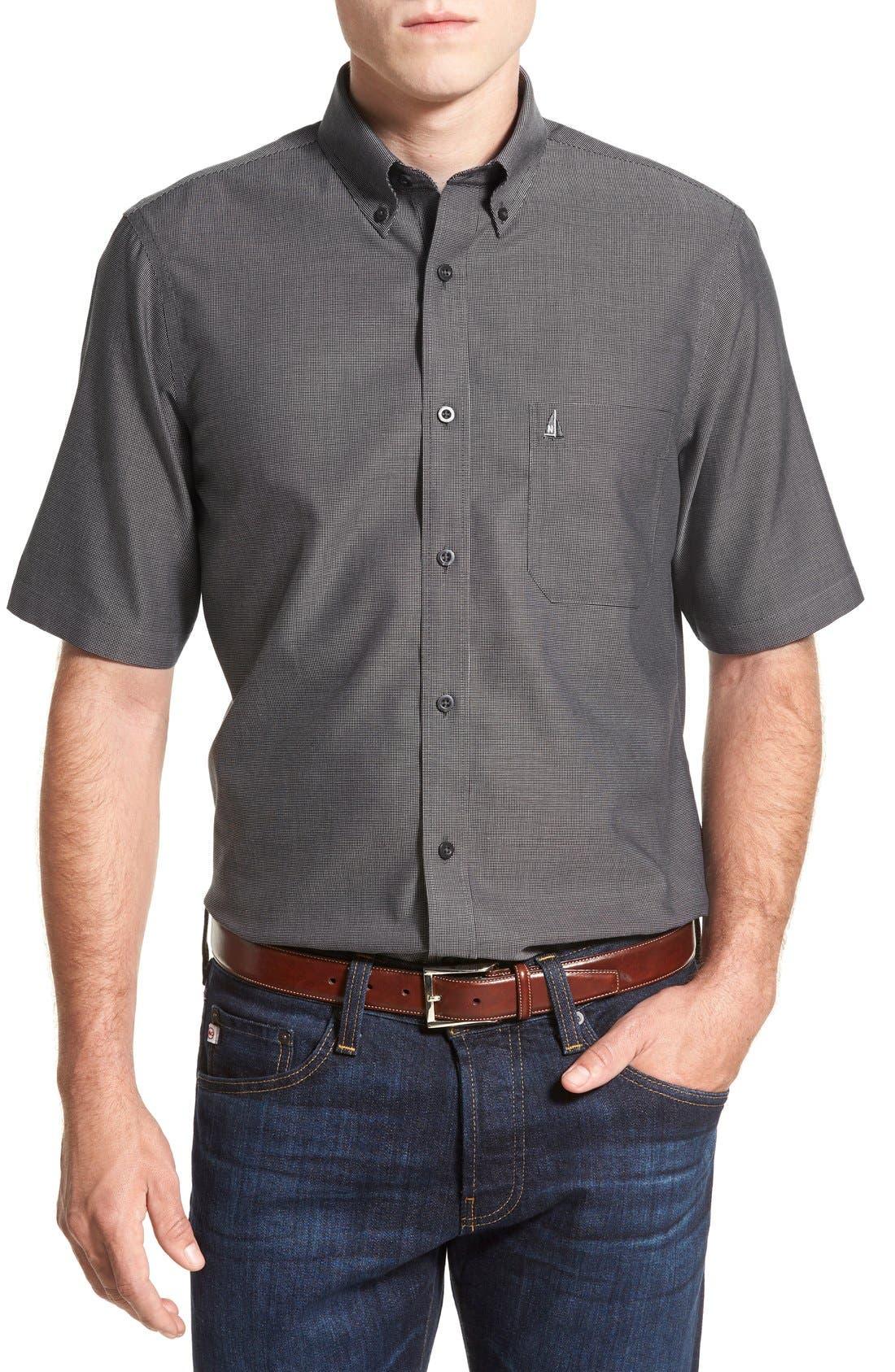 'Classic' Smartcare<sup>™</sup> Regular Fit Short Sleeve Cotton Sport Shirt,                             Main thumbnail 6, color,