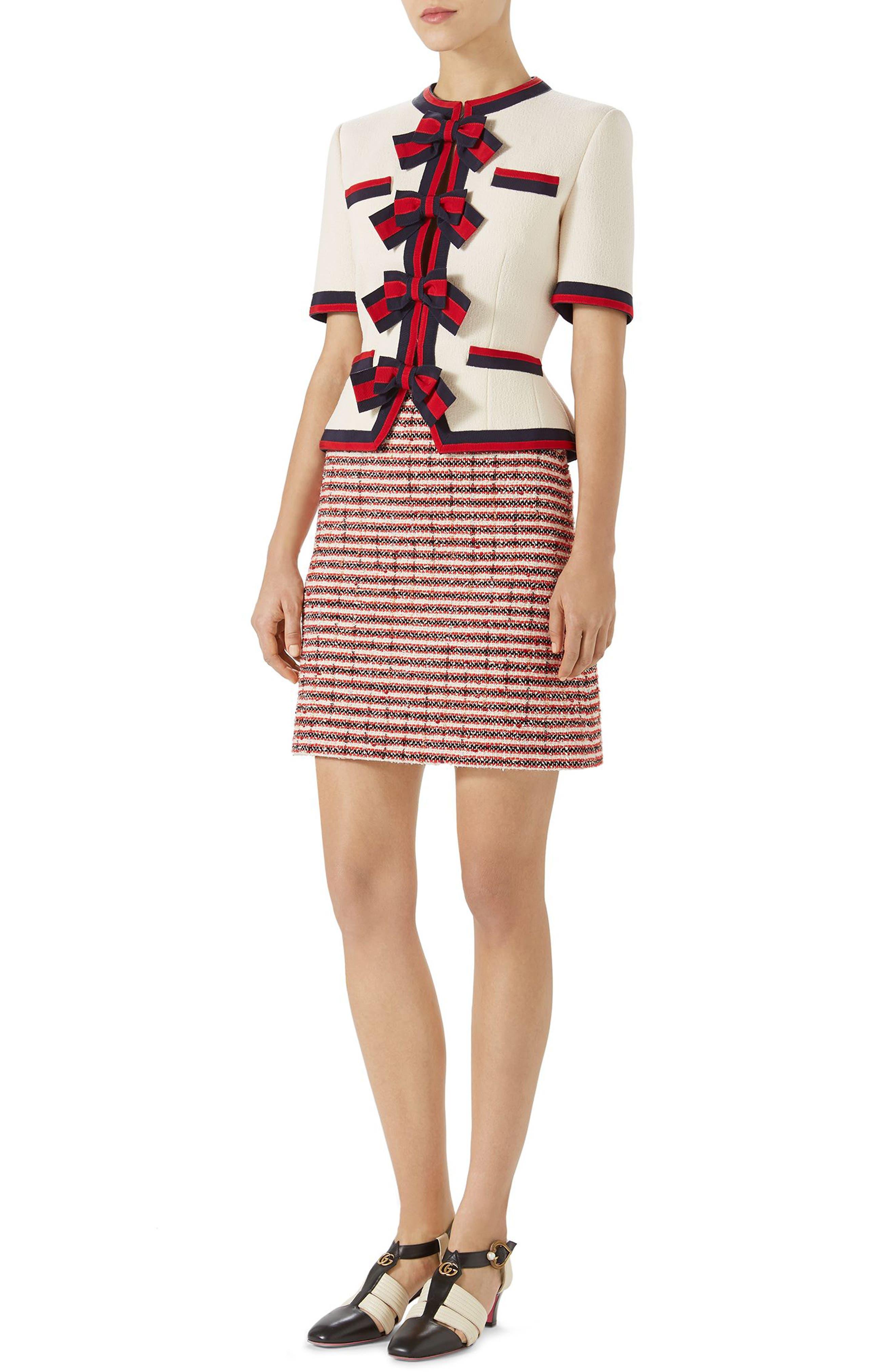 Stripe Tweed A-Line Skirt,                             Alternate thumbnail 5, color,                             GARDENIA-HIBISCUS RED STRIPE