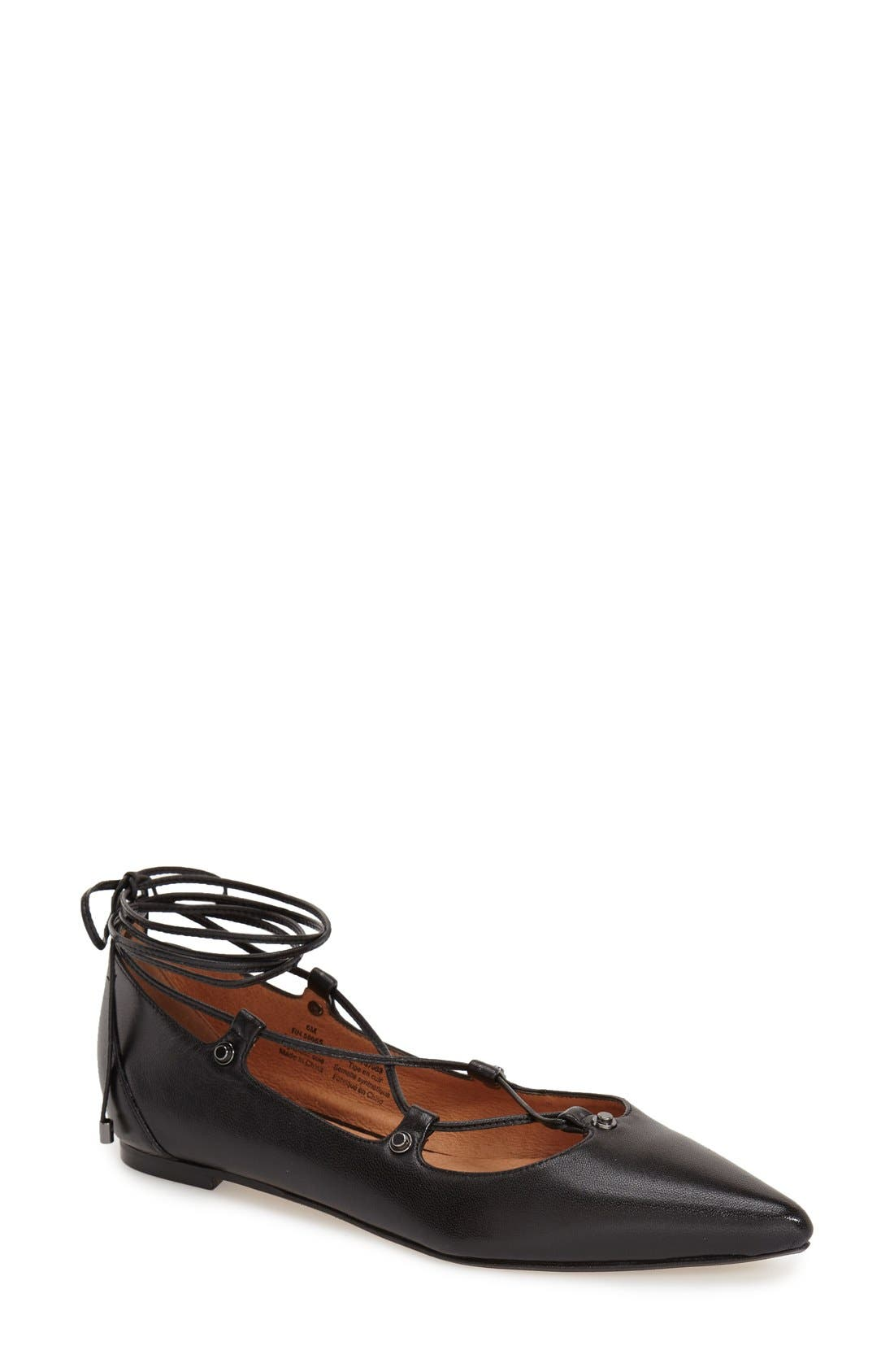 'Owen' Pointy Toe Ghillie Flat,                         Main,                         color, 001