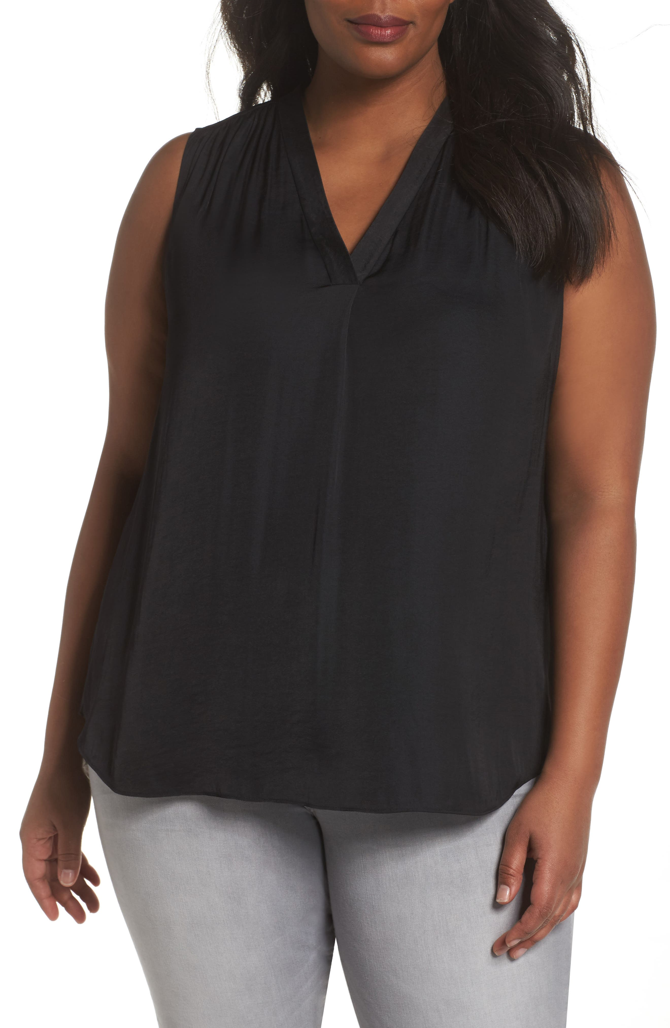 V-Neck Rumple Blouse,                         Main,                         color, RICH BLACK