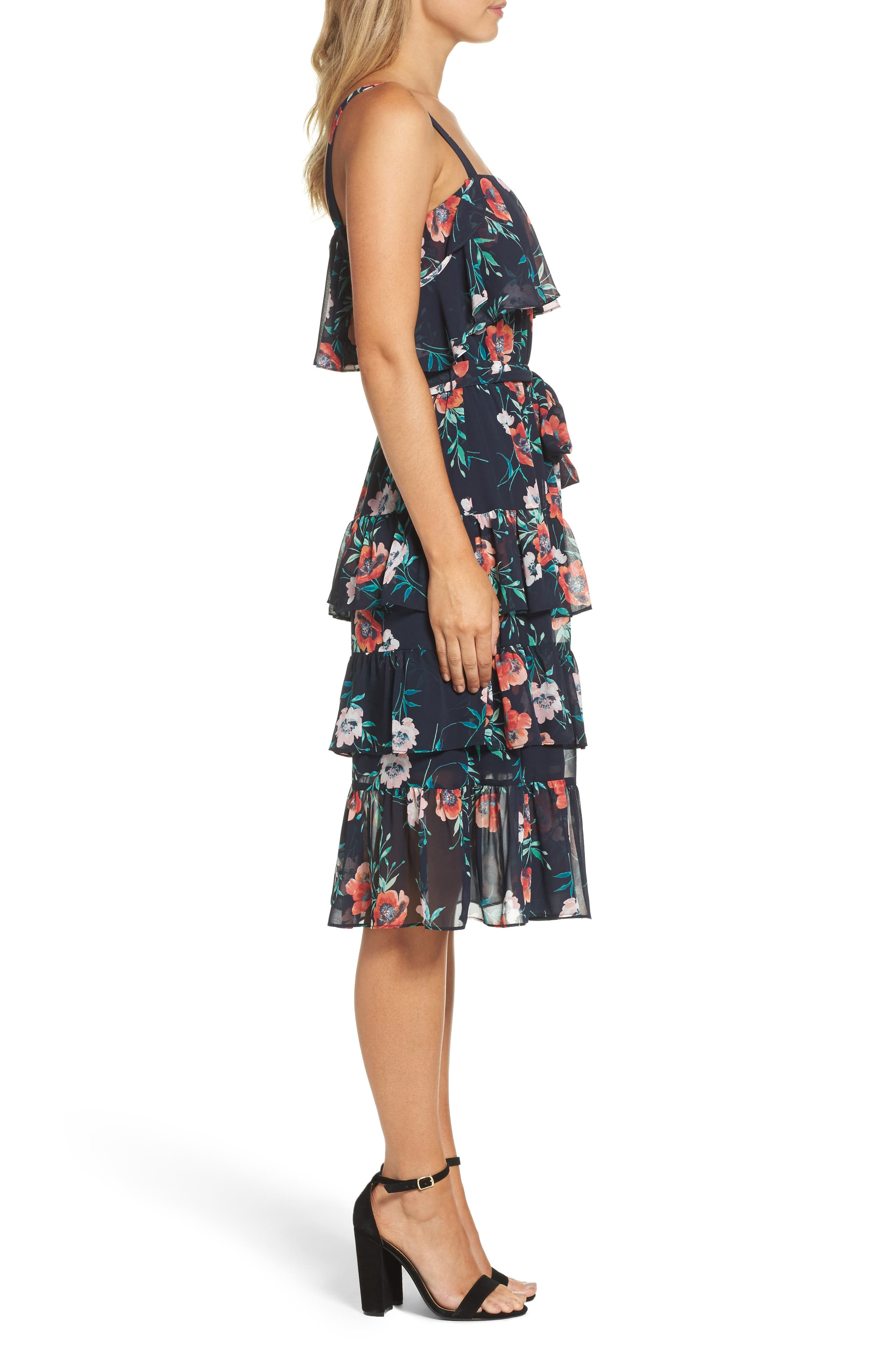 Floral Ruffle Dress,                             Alternate thumbnail 3, color,                             410
