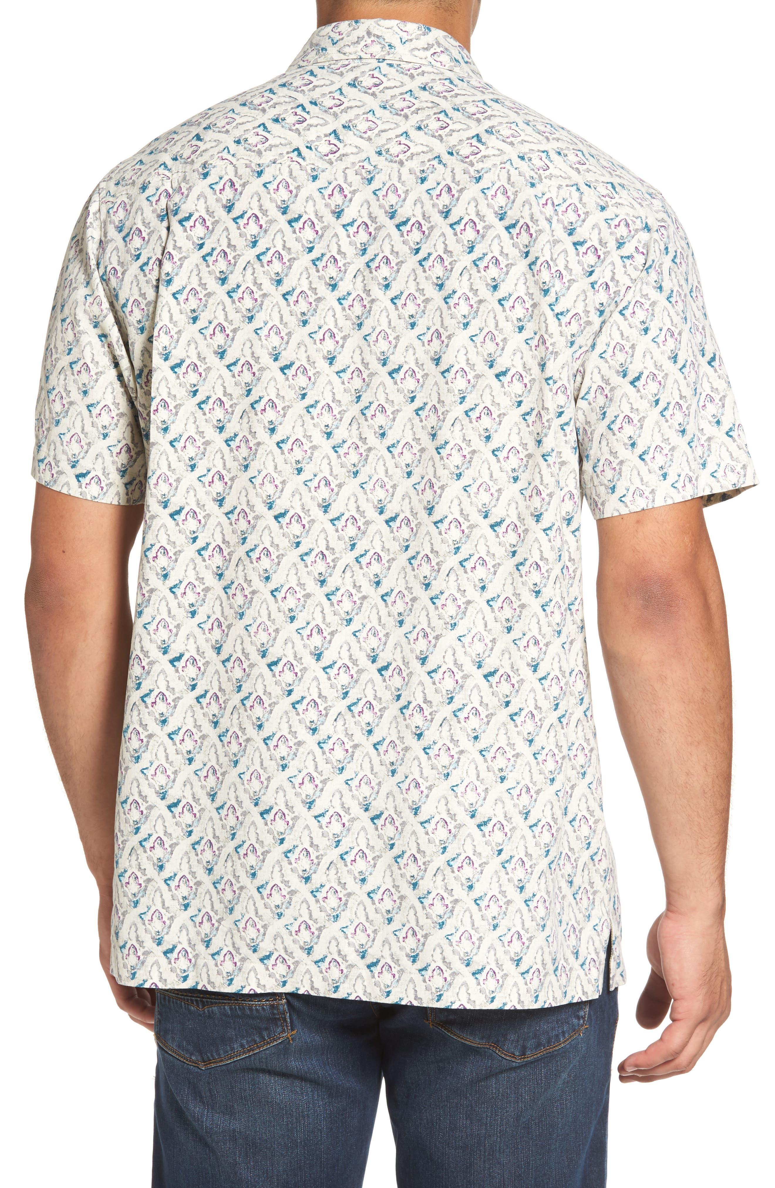 Alcazar Tiles Standard Fit Silk Camp Shirt,                             Alternate thumbnail 2, color,                             200