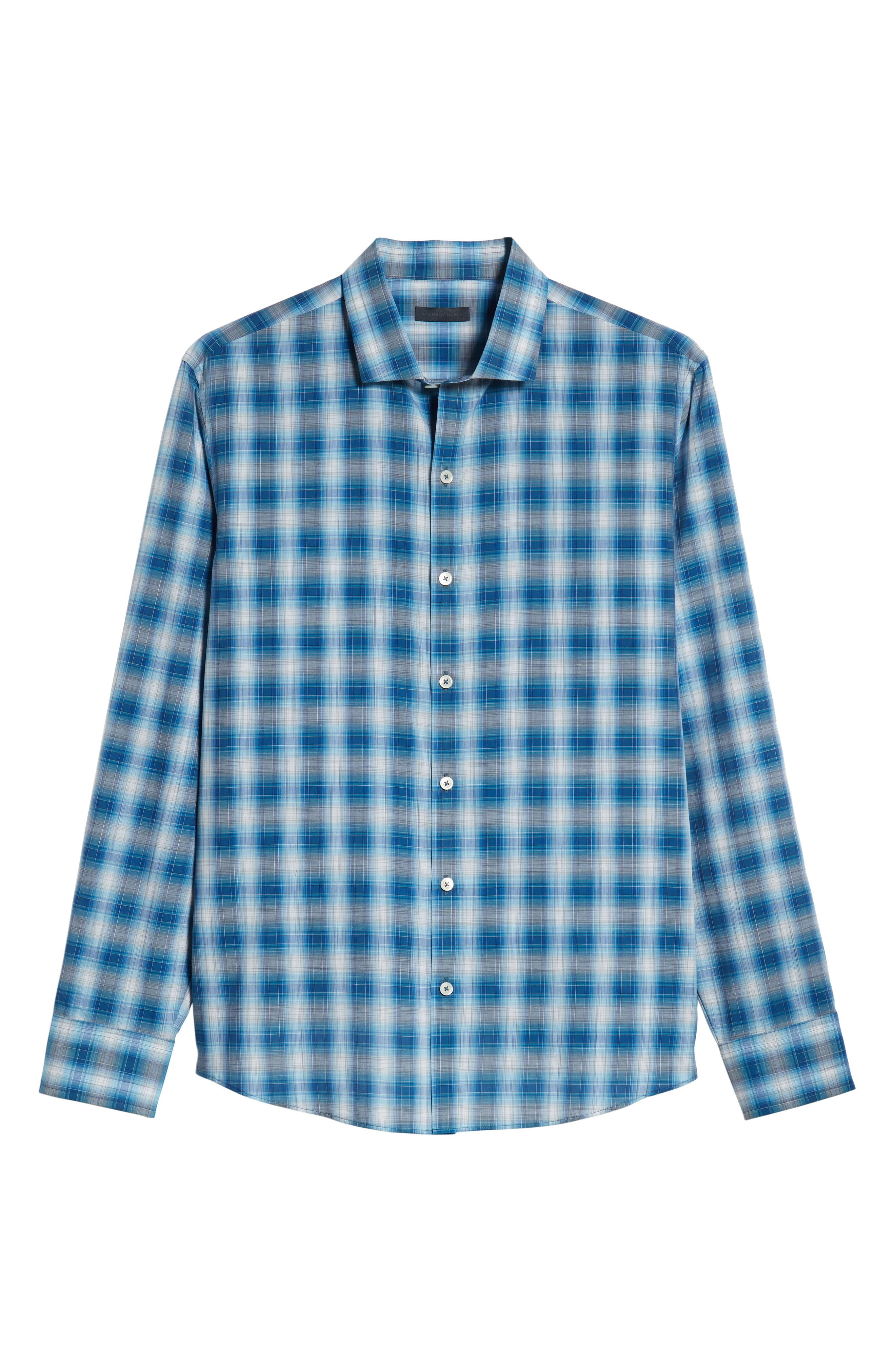 Holtsinger Plaid Sport Shirt,                             Alternate thumbnail 5, color,                             BRIGHT BLUE