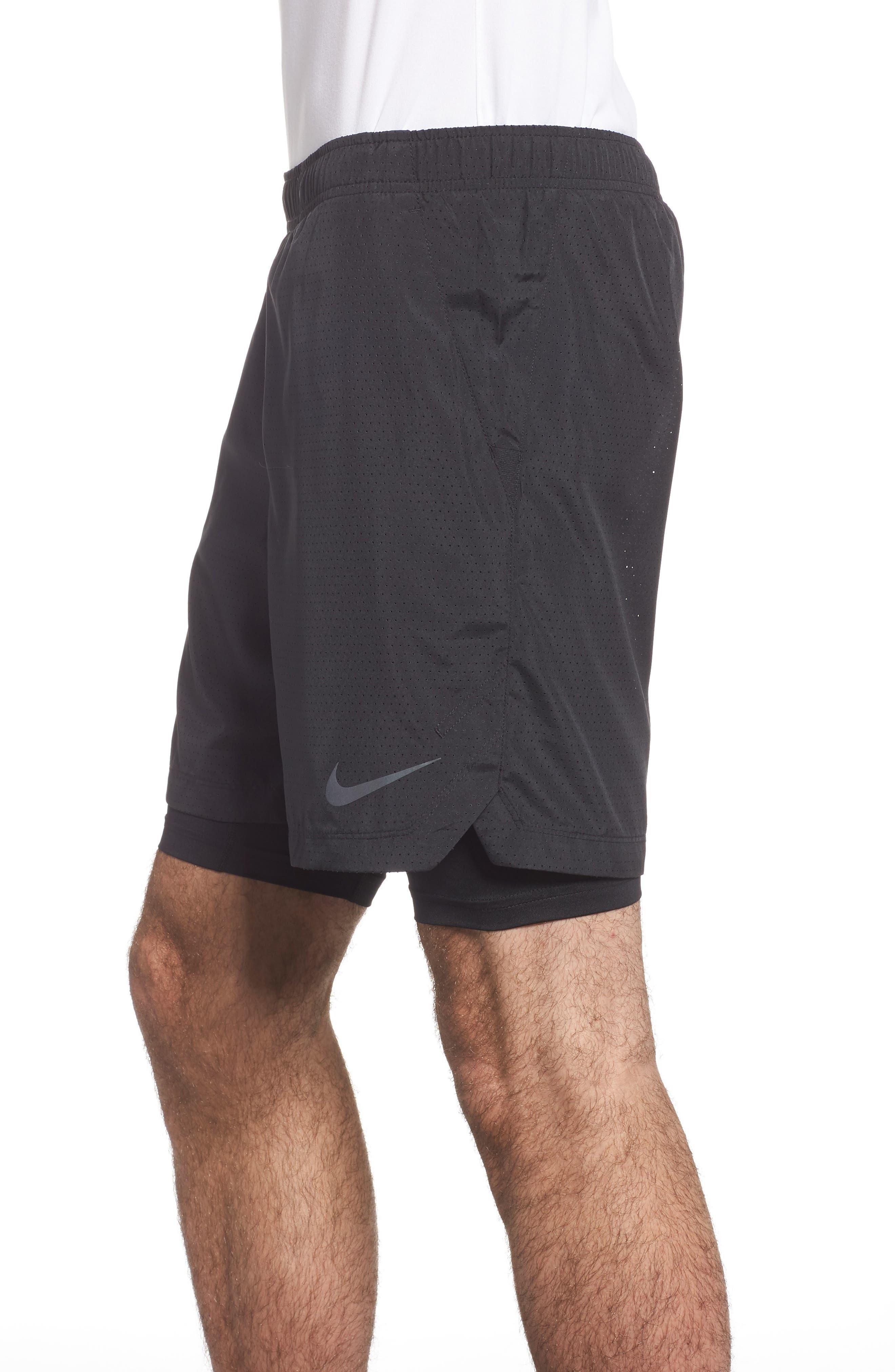 Running Challenger 2-in-1 Shorts,                             Alternate thumbnail 3, color,                             BLACK/ BLACK