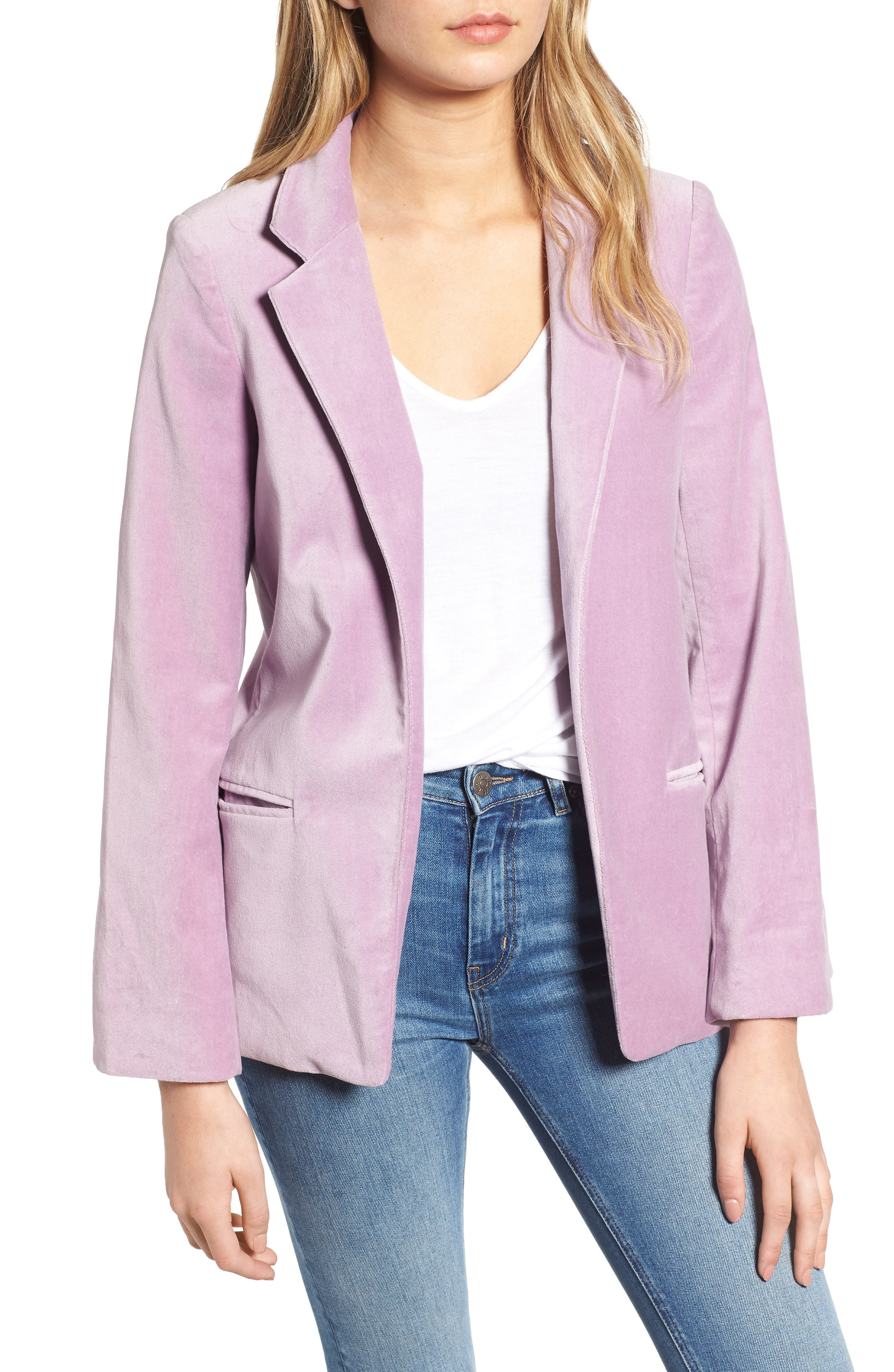 Volly Velour Open-Front Blazer in Parme