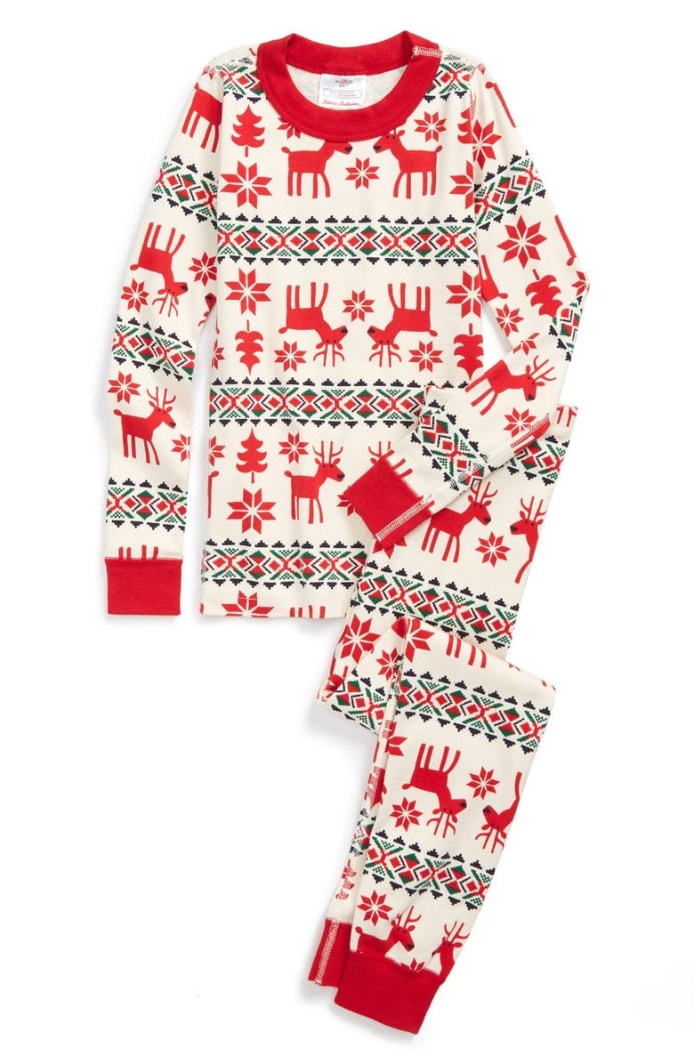afe6ab7539 HANNA ANDERSSON  Holiday Dear Deer  Organic Cotton Two-Piece Fitted Pajamas