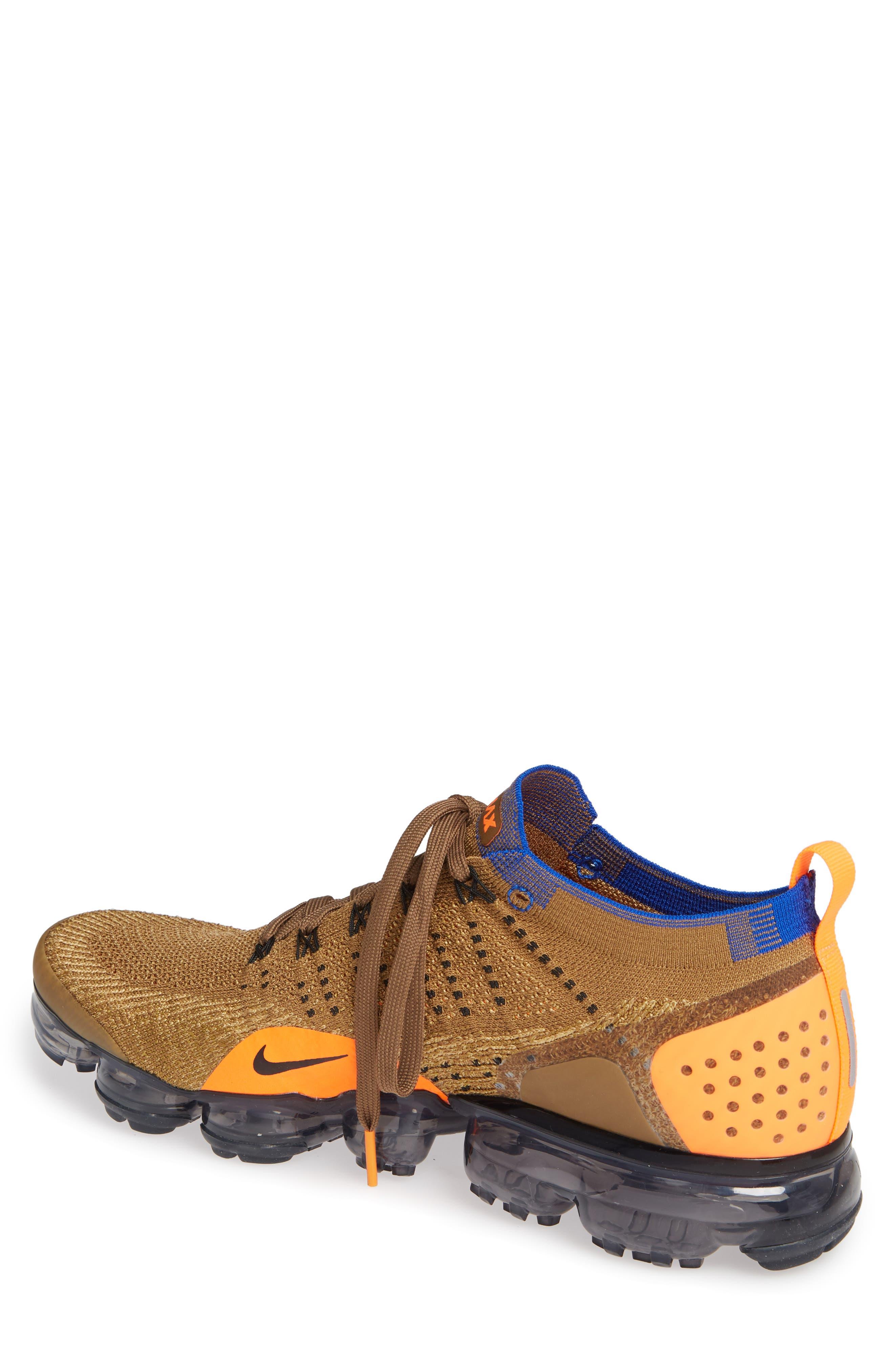 Air Vapormax Flyknit 2 Running Shoe,                             Alternate thumbnail 2, color,                             GOLDEN BEIGE/ RACER BLUE/ GOLD