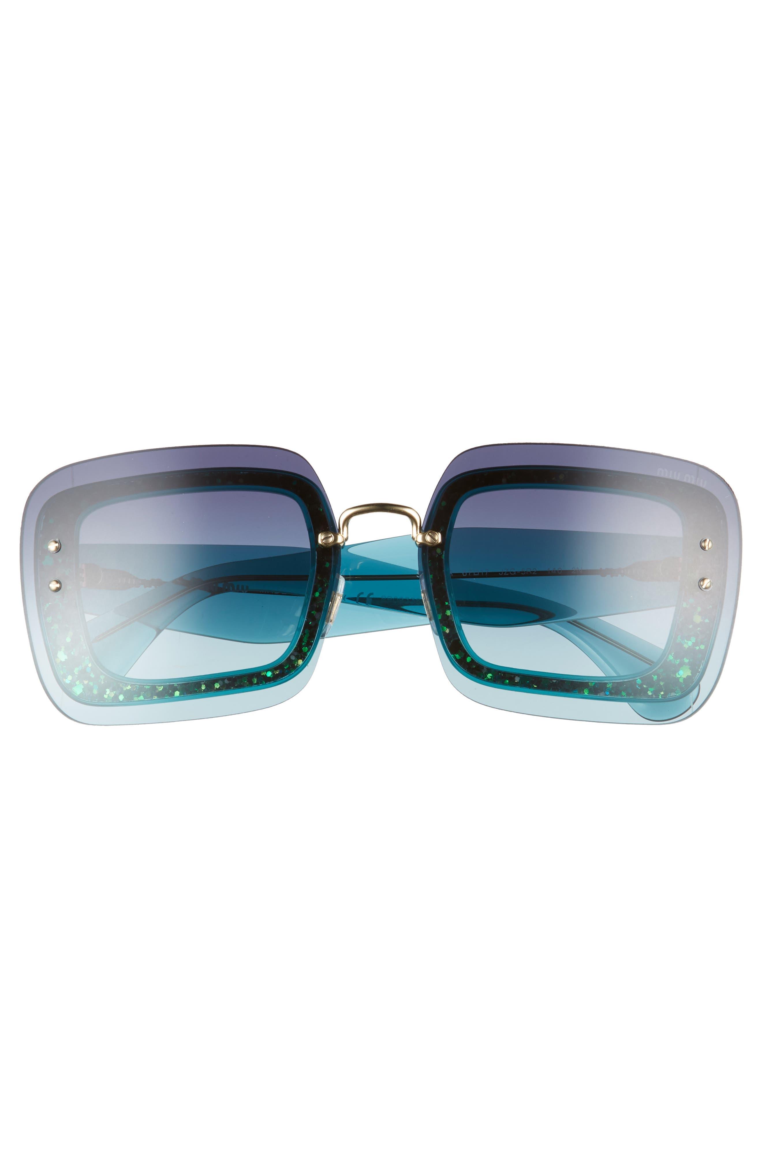 67mm Square Sunglasses,                             Alternate thumbnail 3, color,                             TURQUOISE GRADIENT