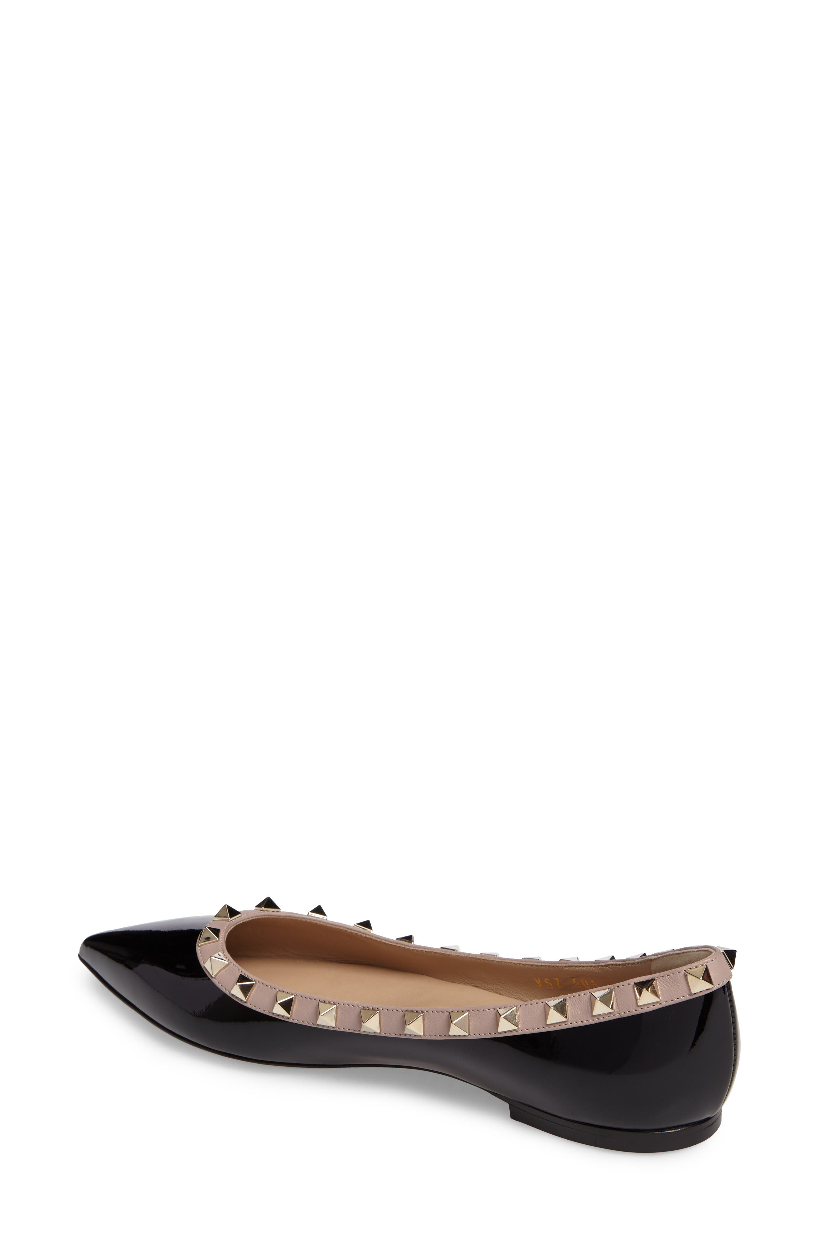 Rockstud Ballerina Flat,                             Alternate thumbnail 2, color,                             BLACK/ BLUSH