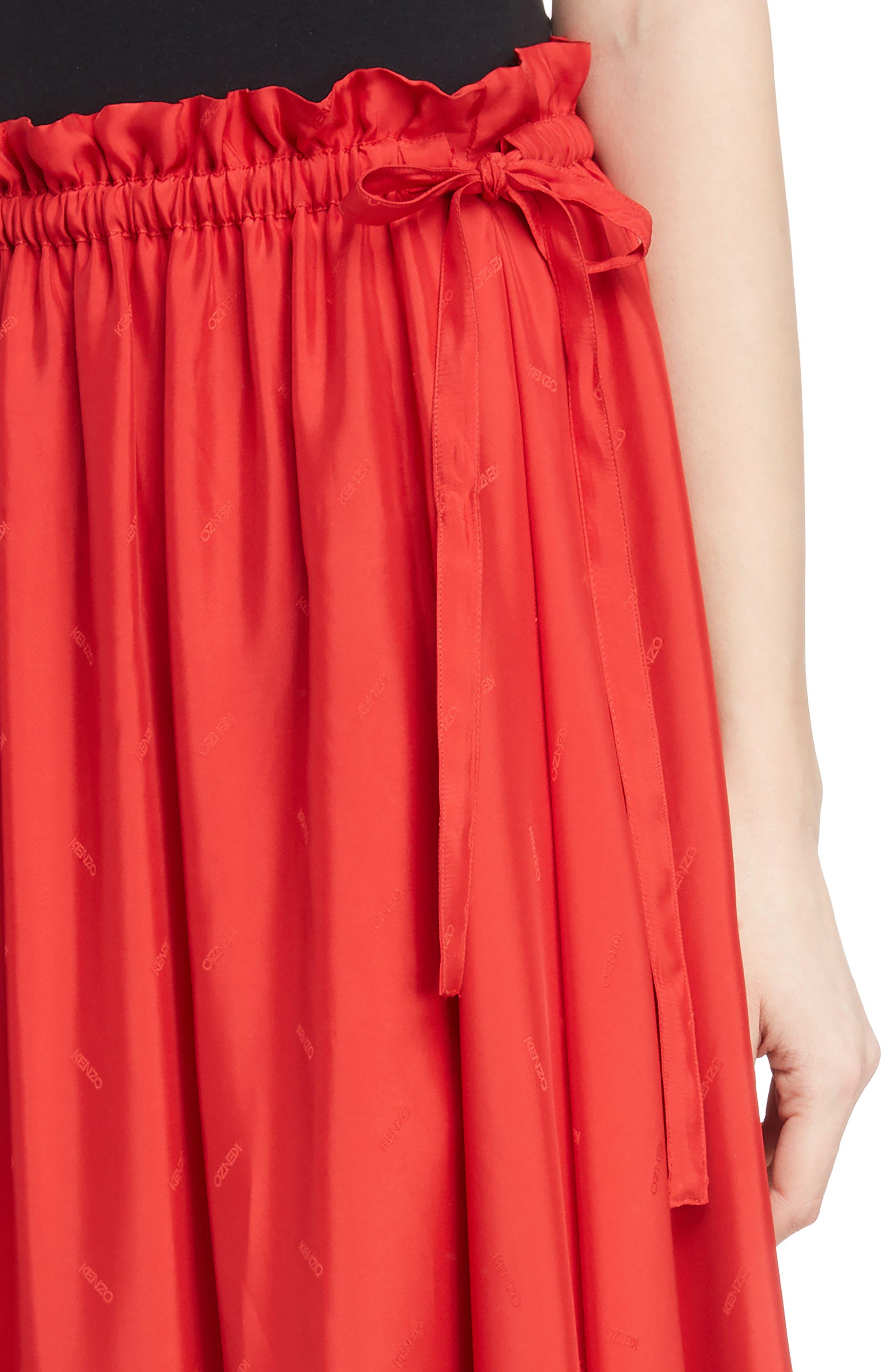 Long Belted Skirt,                             Alternate thumbnail 4, color,                             VISCOSE/ MEDIUM RED