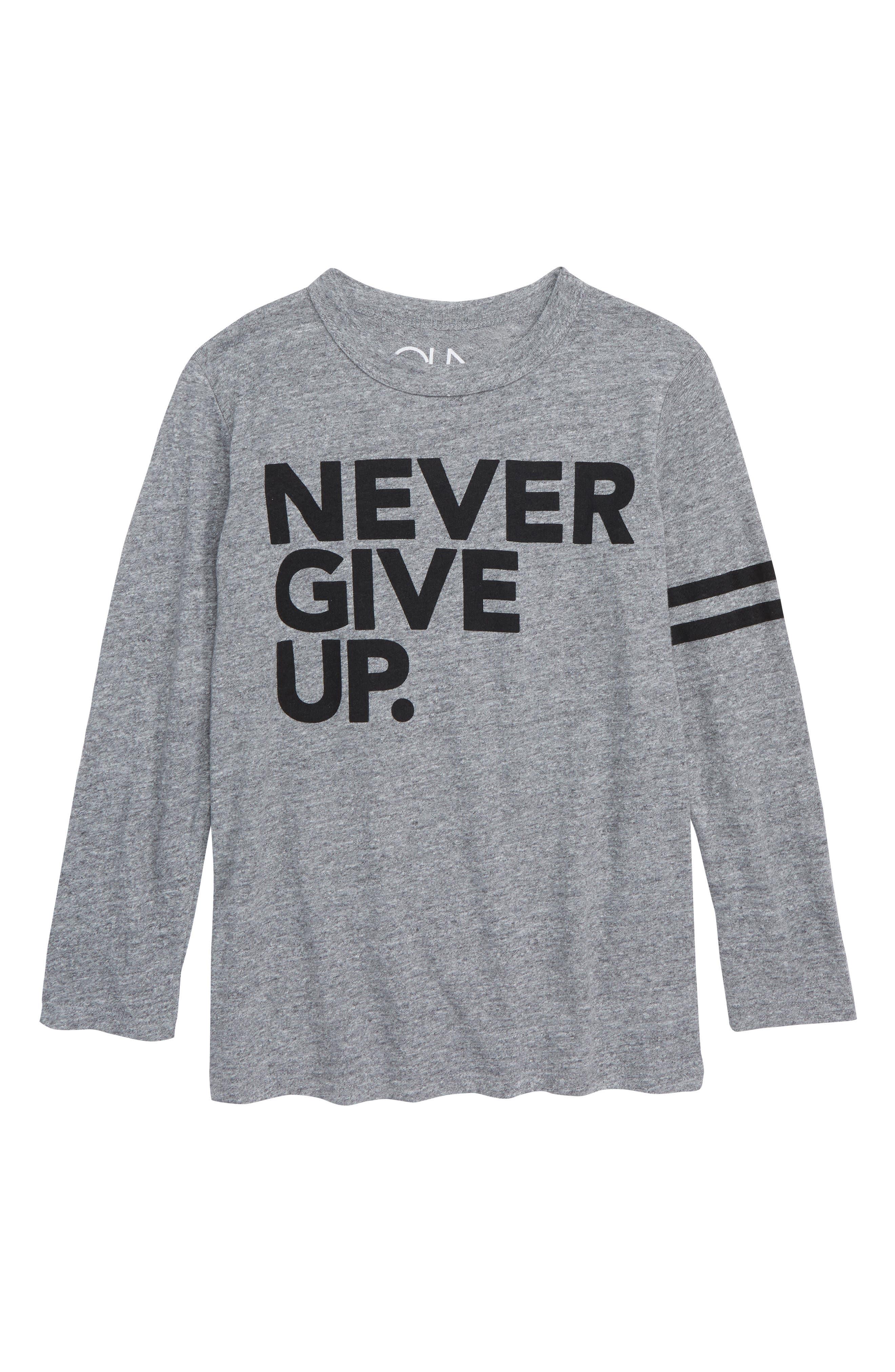CHASER,                             Never Give Up T-Shirt,                             Main thumbnail 1, color,                             STREAKY GREY