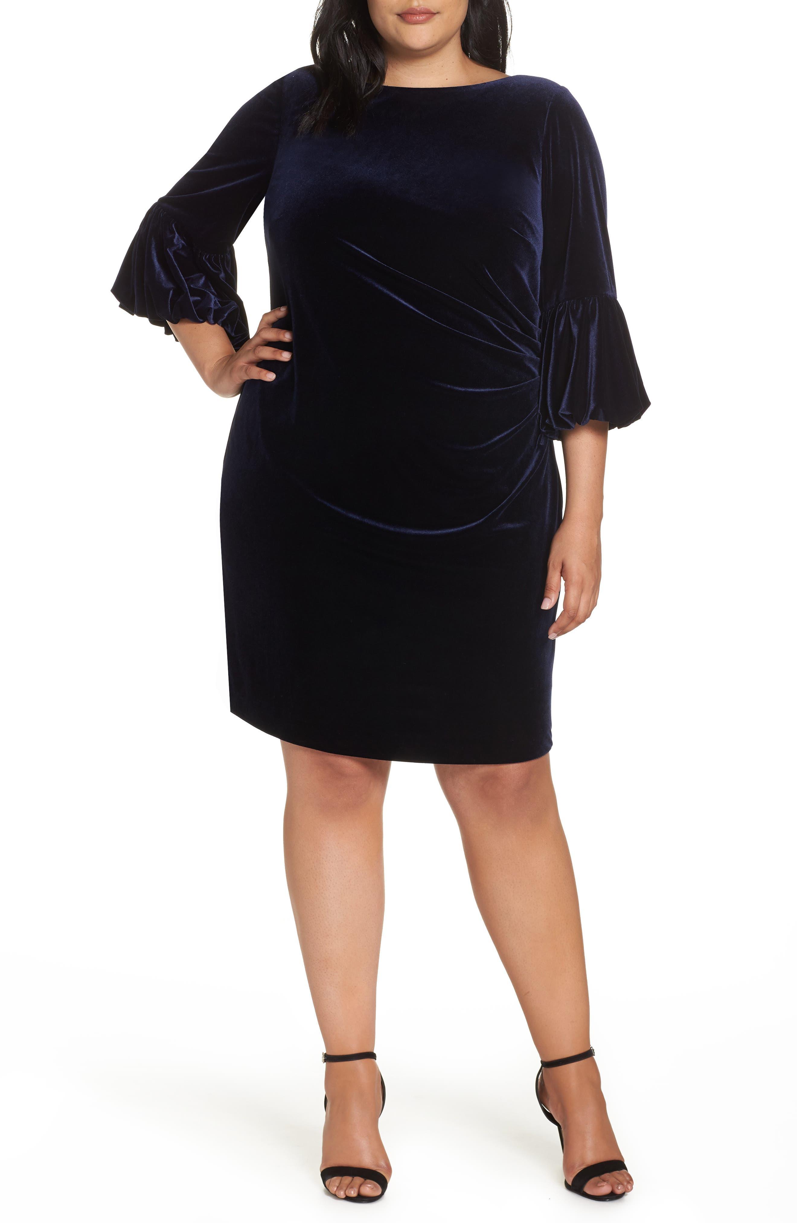 Bubble Sleeve Velvet Sheath Dress,                         Main,                         color, NAVY