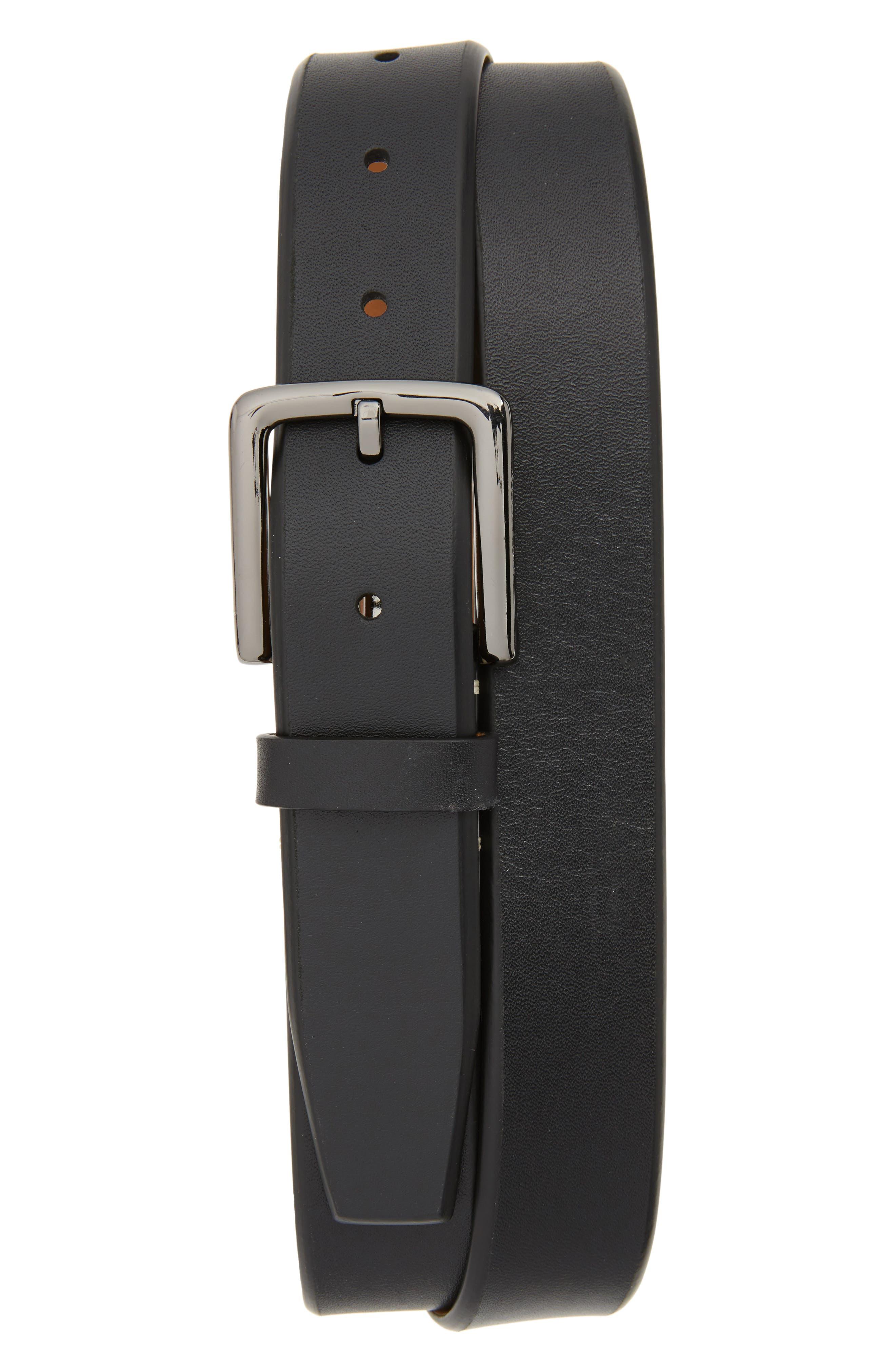 Mitered Leather Belt,                         Main,                         color, BLACK/ IVORY