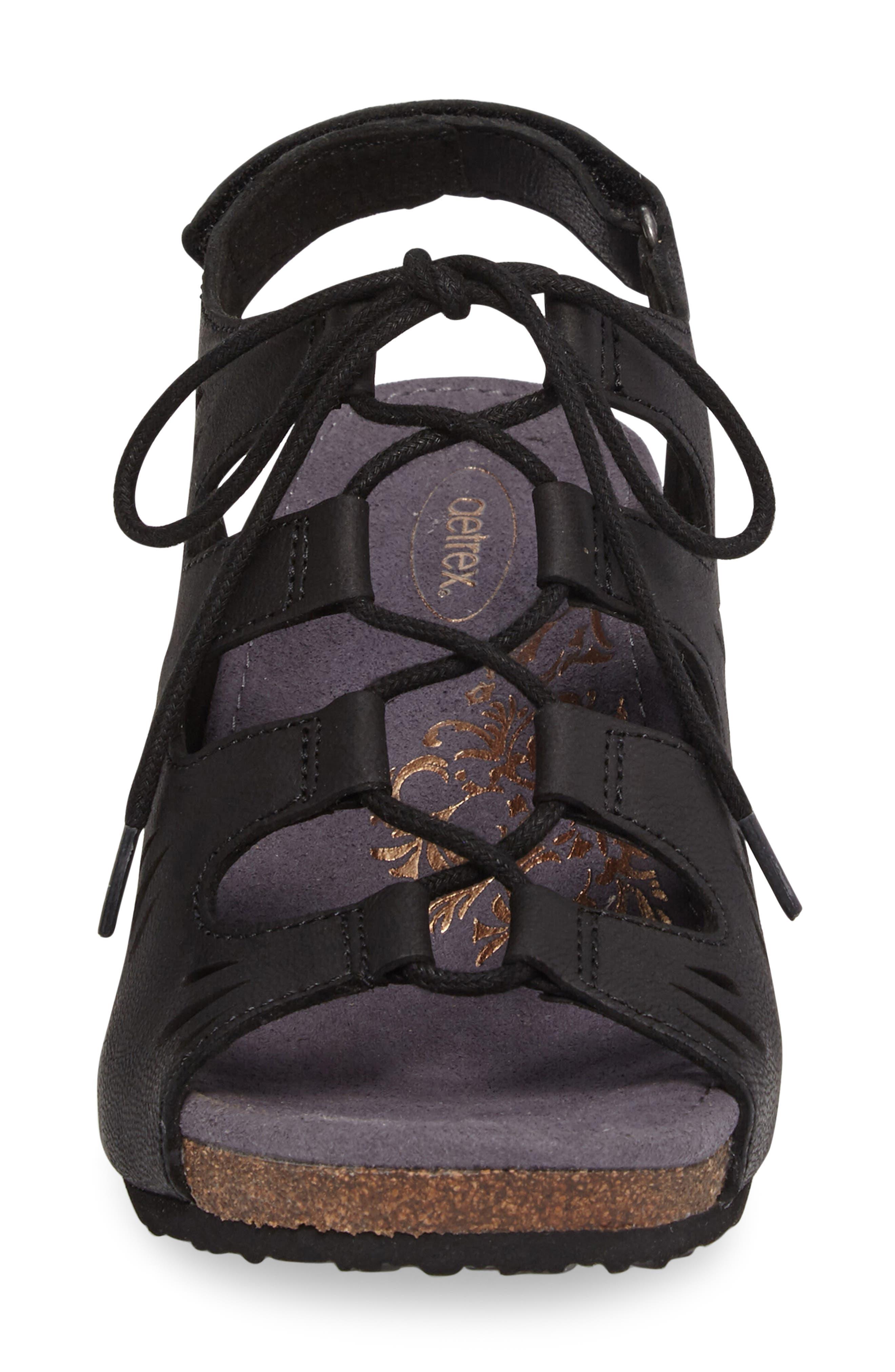 Giselle Slingback Wedge Sandal,                             Alternate thumbnail 4, color,                             001