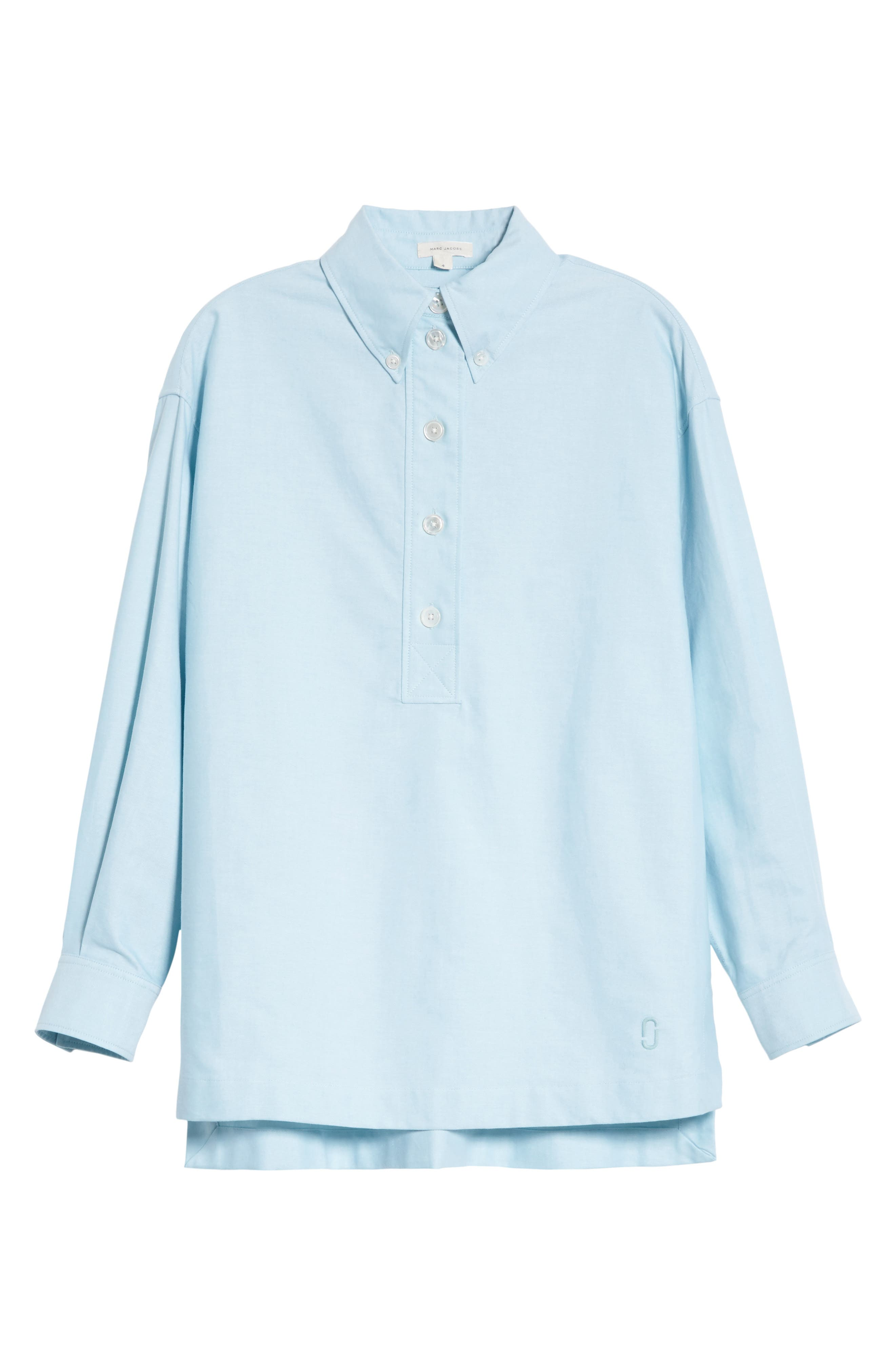 Oversize Half Placket Shirt,                             Alternate thumbnail 6, color,                             440