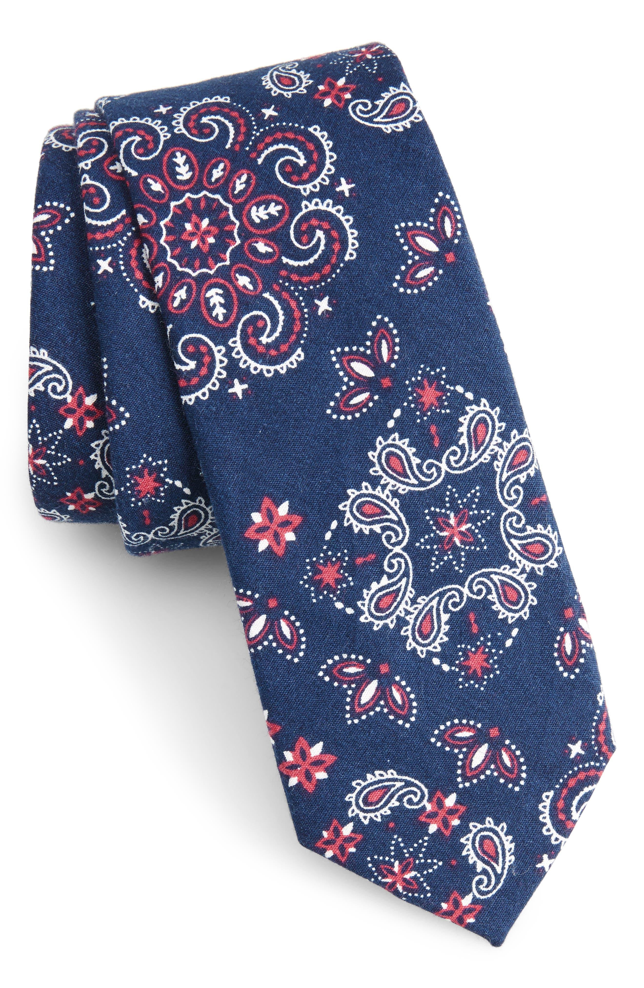 Leblanc Paisley Cotton Skinny Tie,                         Main,                         color, 410