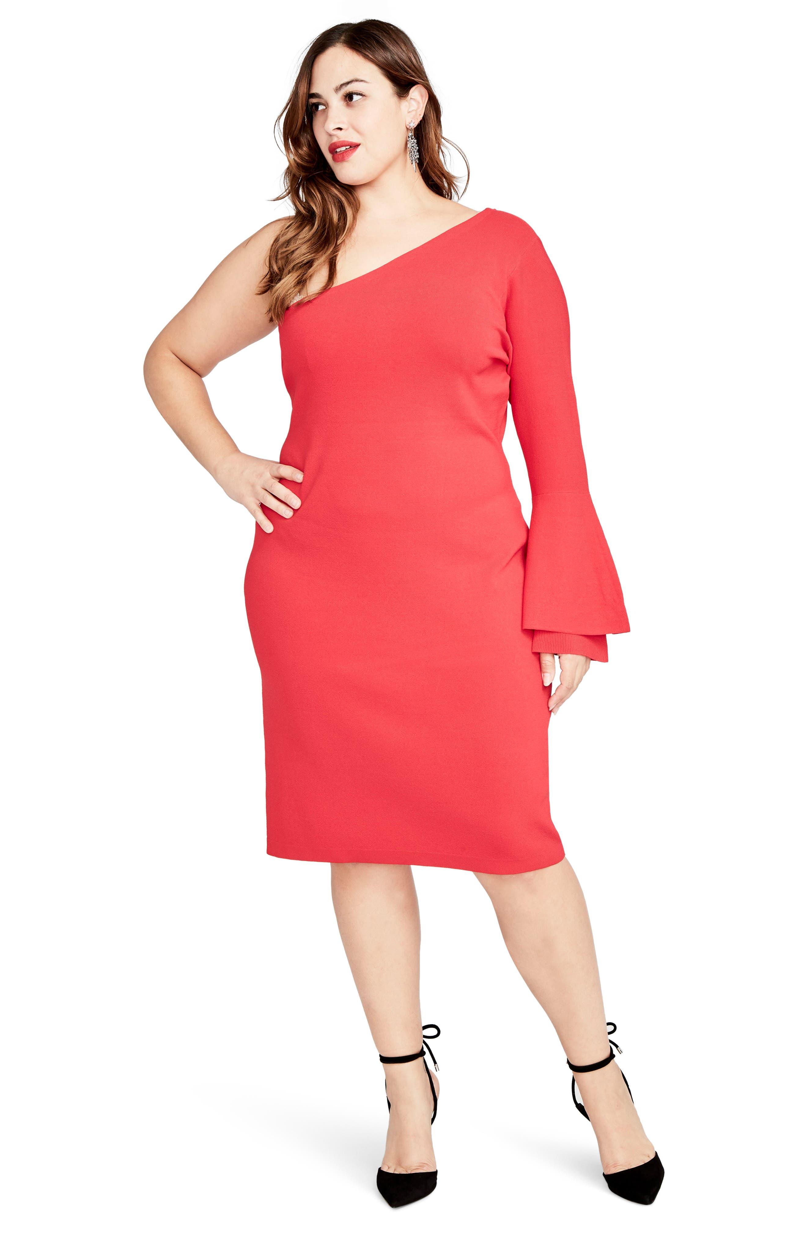 One-Shoulder Knit Sheath Dress,                             Alternate thumbnail 6, color,