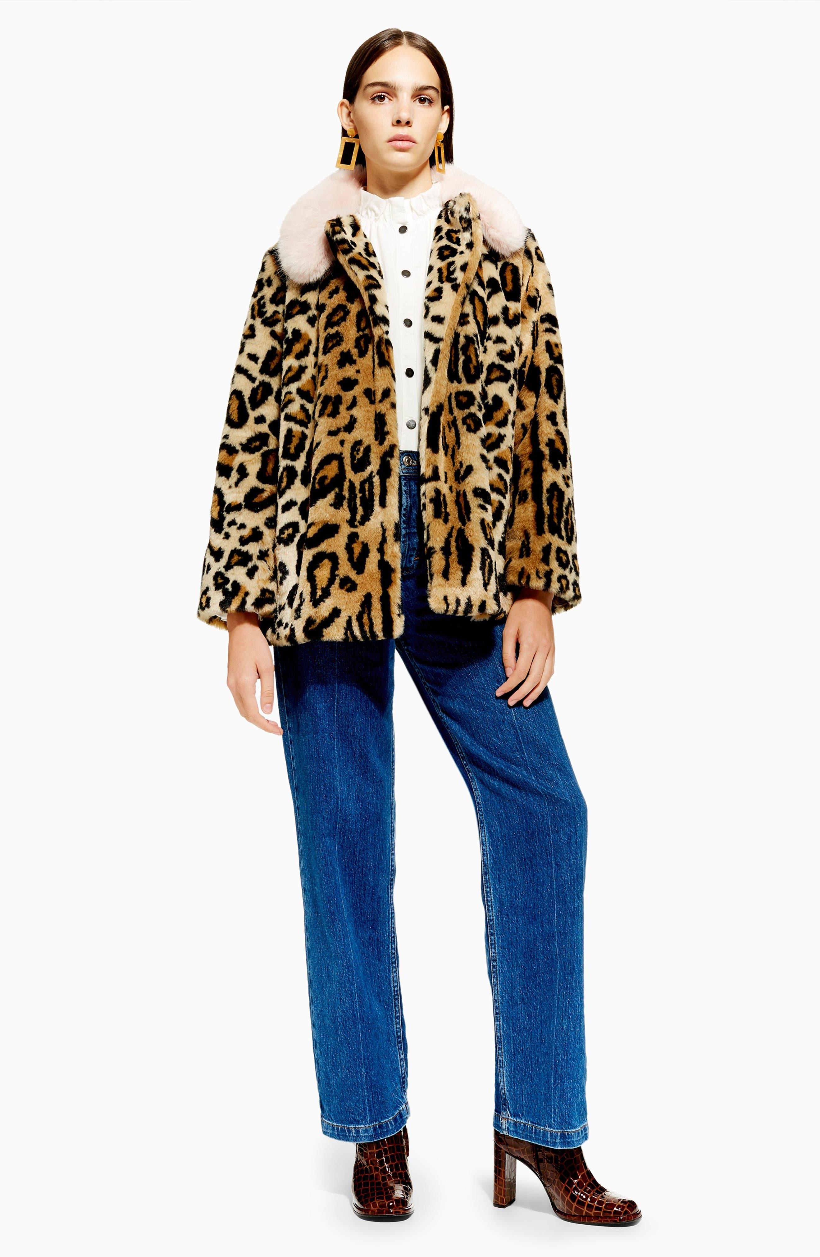 Leopard Spot Faux Fur Coat,                             Alternate thumbnail 4, color,                             BROWN MULTI