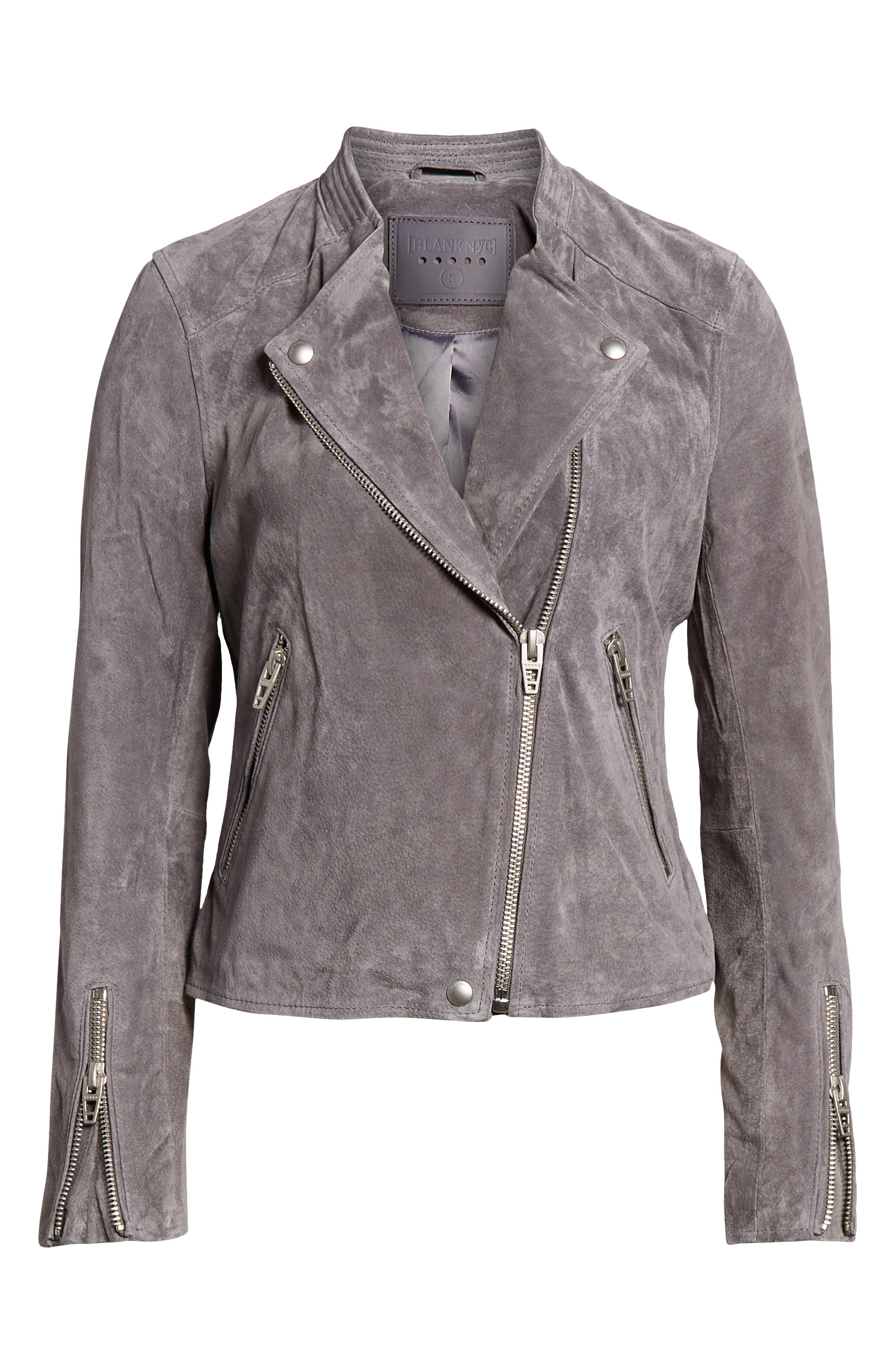 BLANKNYC,                             No Limit Suede Moto Jacket,                             Alternate thumbnail 6, color,                             SILVERSCREEN
