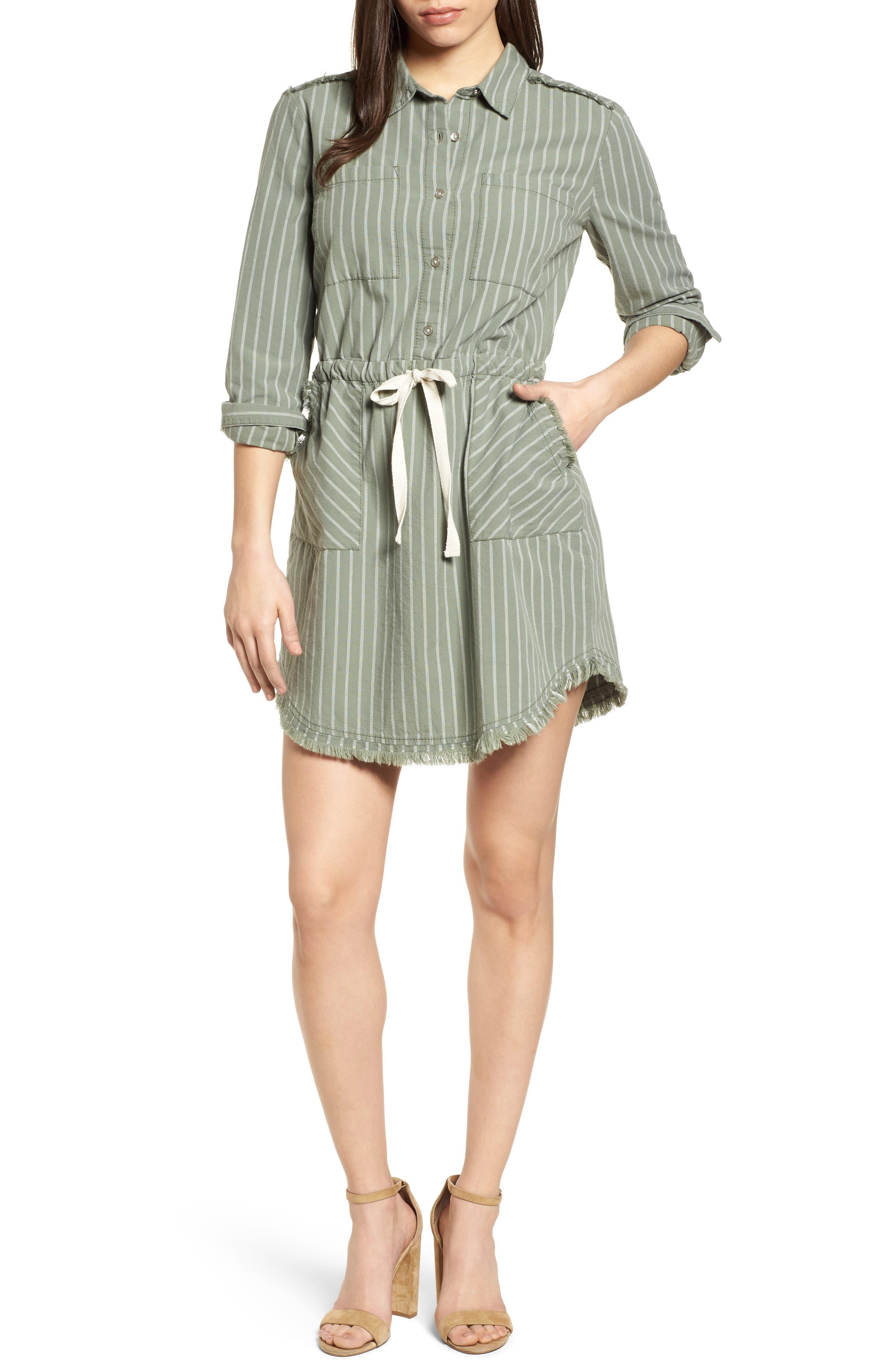 Drawstring Waist Shirtdress,                         Main,                         color, 310
