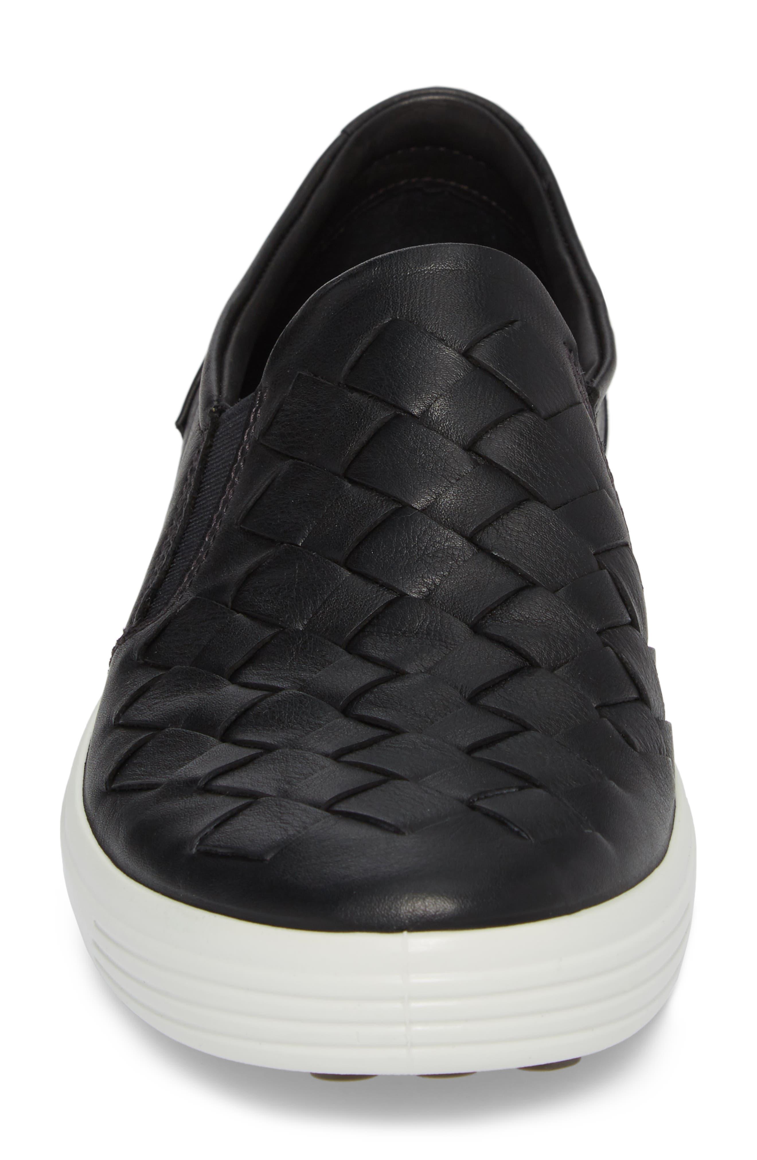 Soft 7 Woven Slip-On Sneaker,                             Alternate thumbnail 4, color,                             BLACK LEATHER