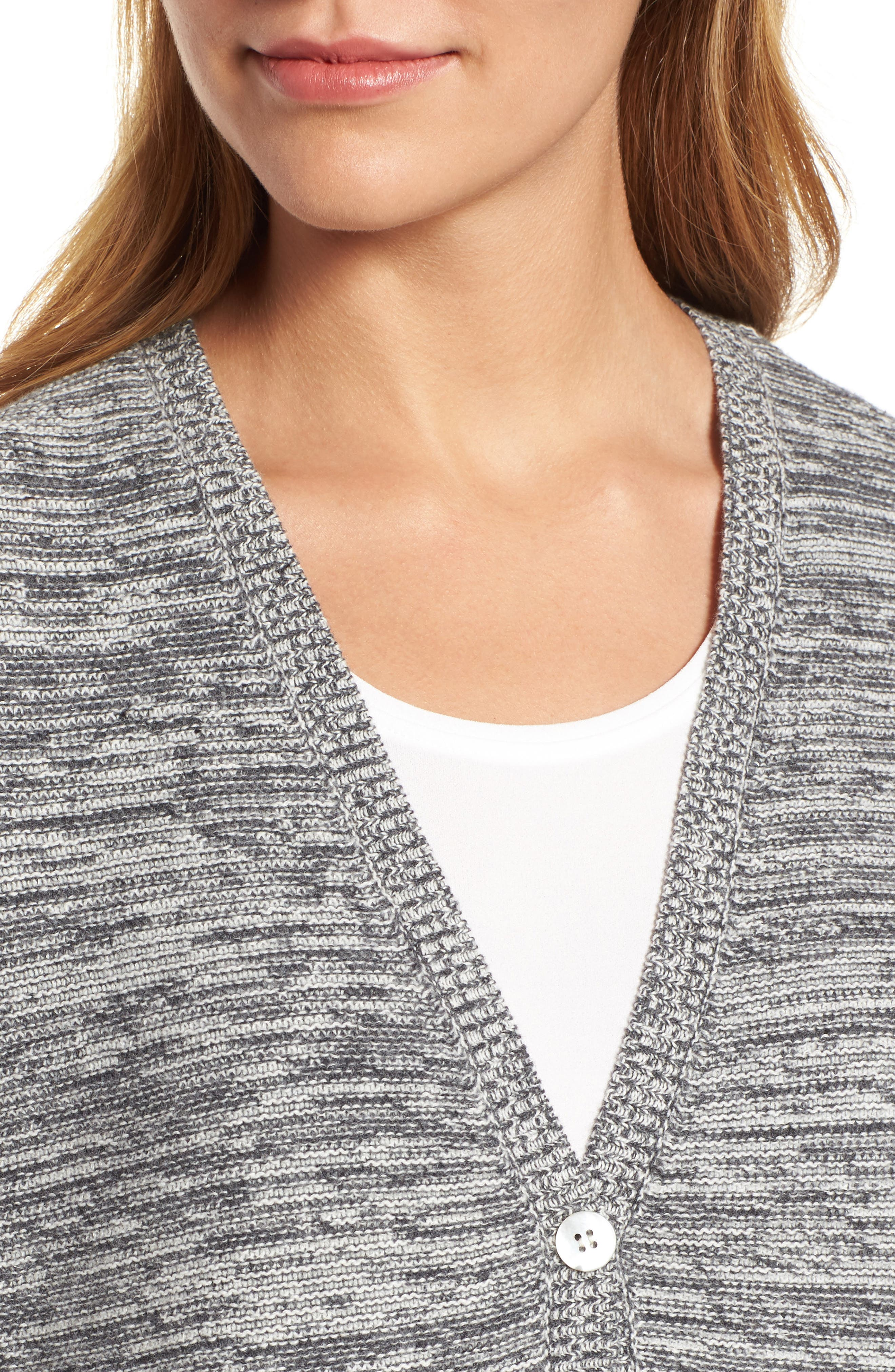 Organic Cotton Blend Boyfriend Cardigan,                             Alternate thumbnail 4, color,                             030