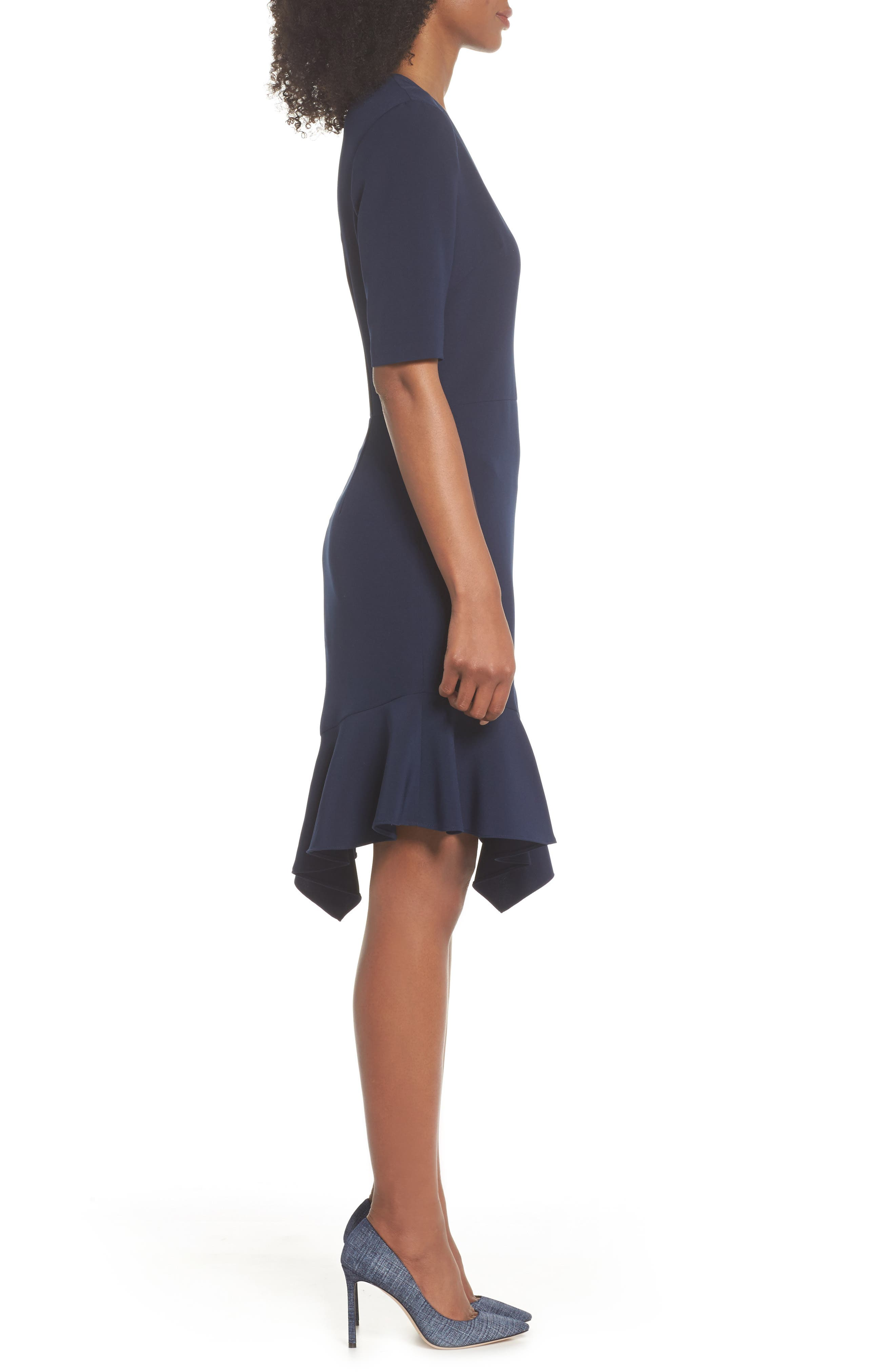 Flounce Hem Sheath Dress,                             Alternate thumbnail 3, color,                             402