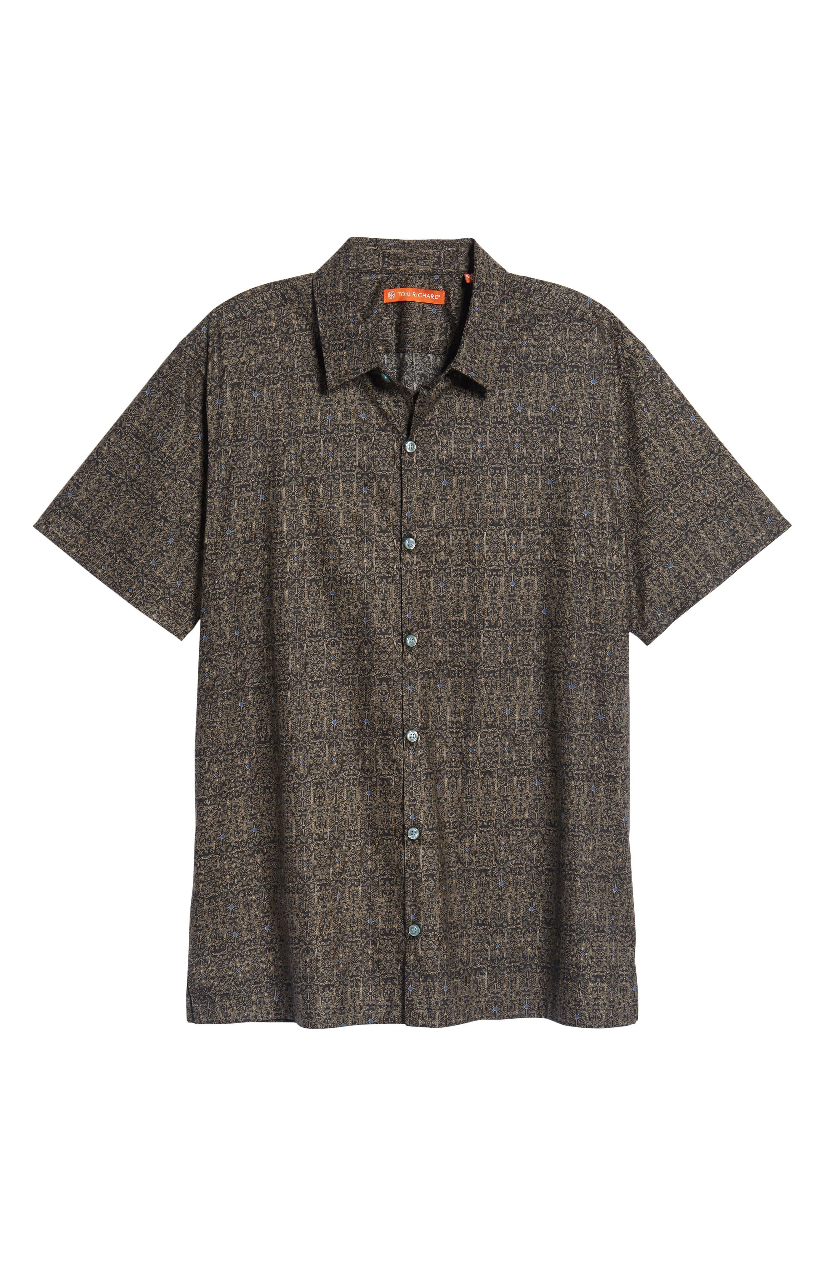 Filigree Slim Fit Camp Shirt,                             Alternate thumbnail 6, color,                             001